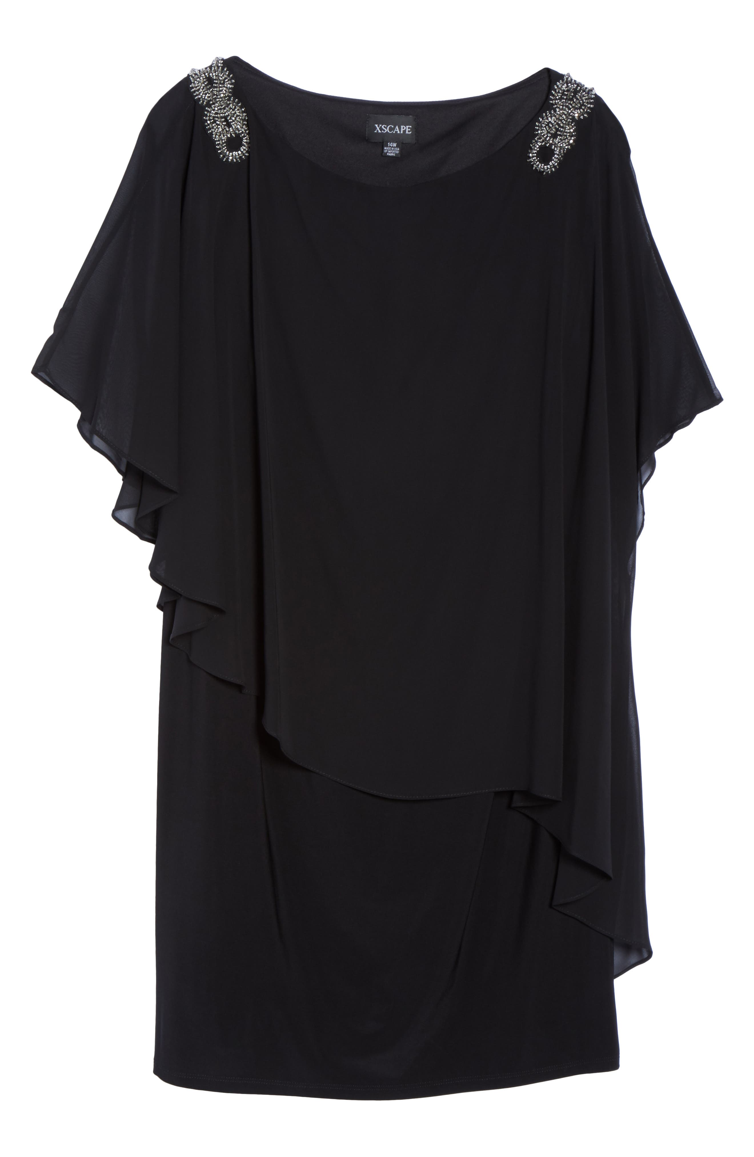 Embellished Chiffon Overlay Jersey Dress,                             Alternate thumbnail 12, color,
