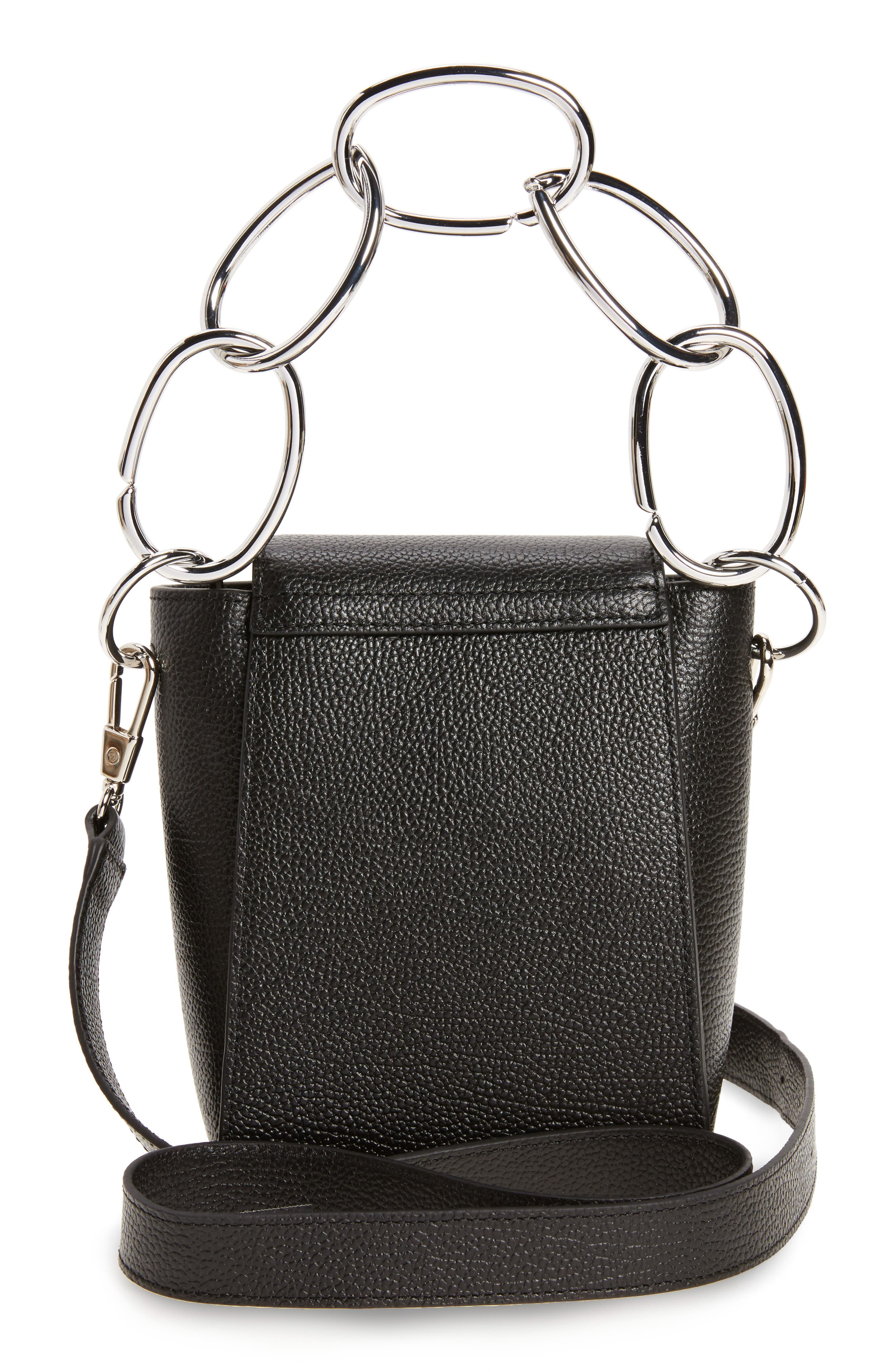 Small Leigh Top Handle Leather Satchel,                             Alternate thumbnail 3, color,                             001