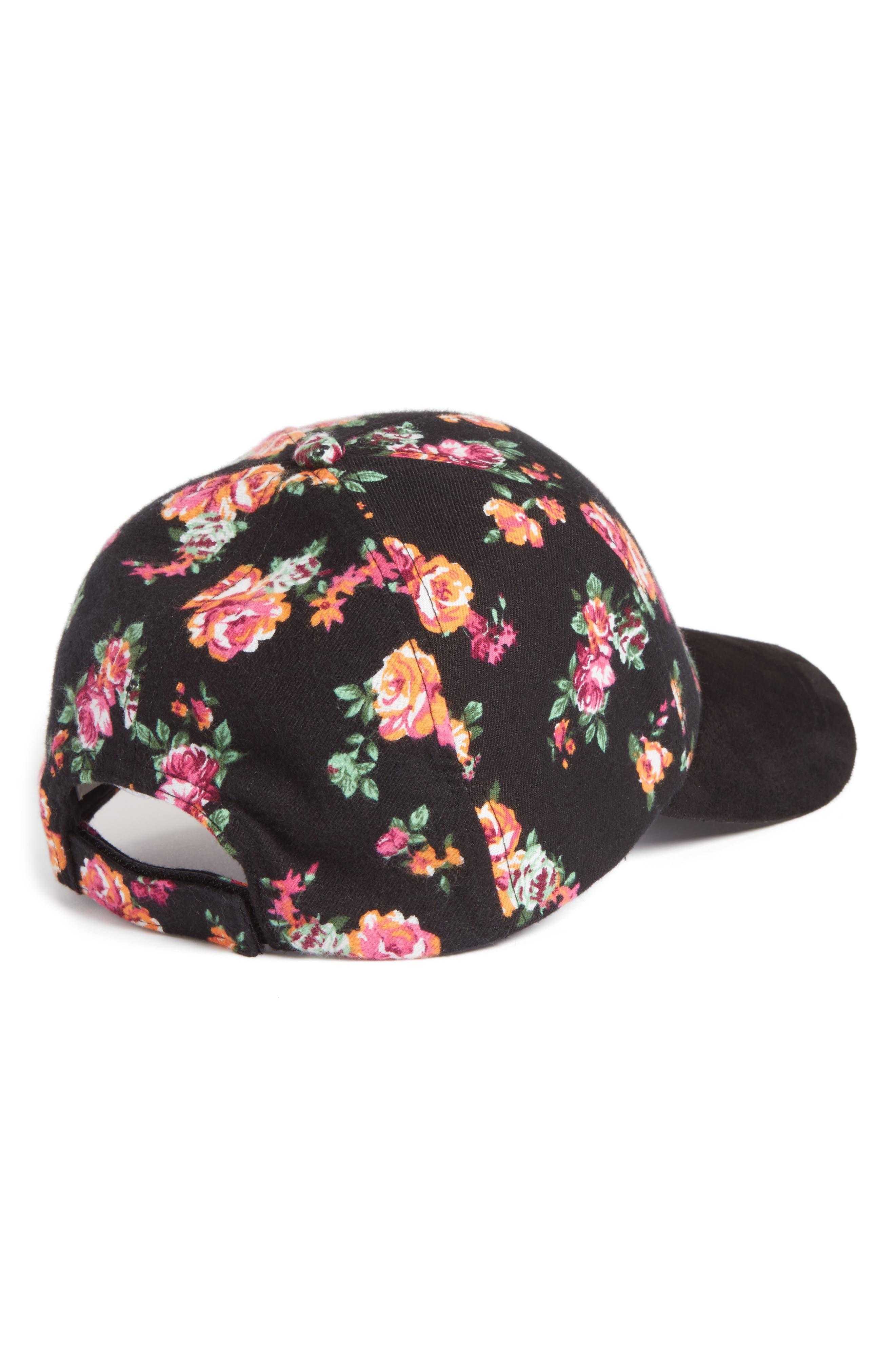 Floral Baseball Cap,                             Alternate thumbnail 2, color,                             001