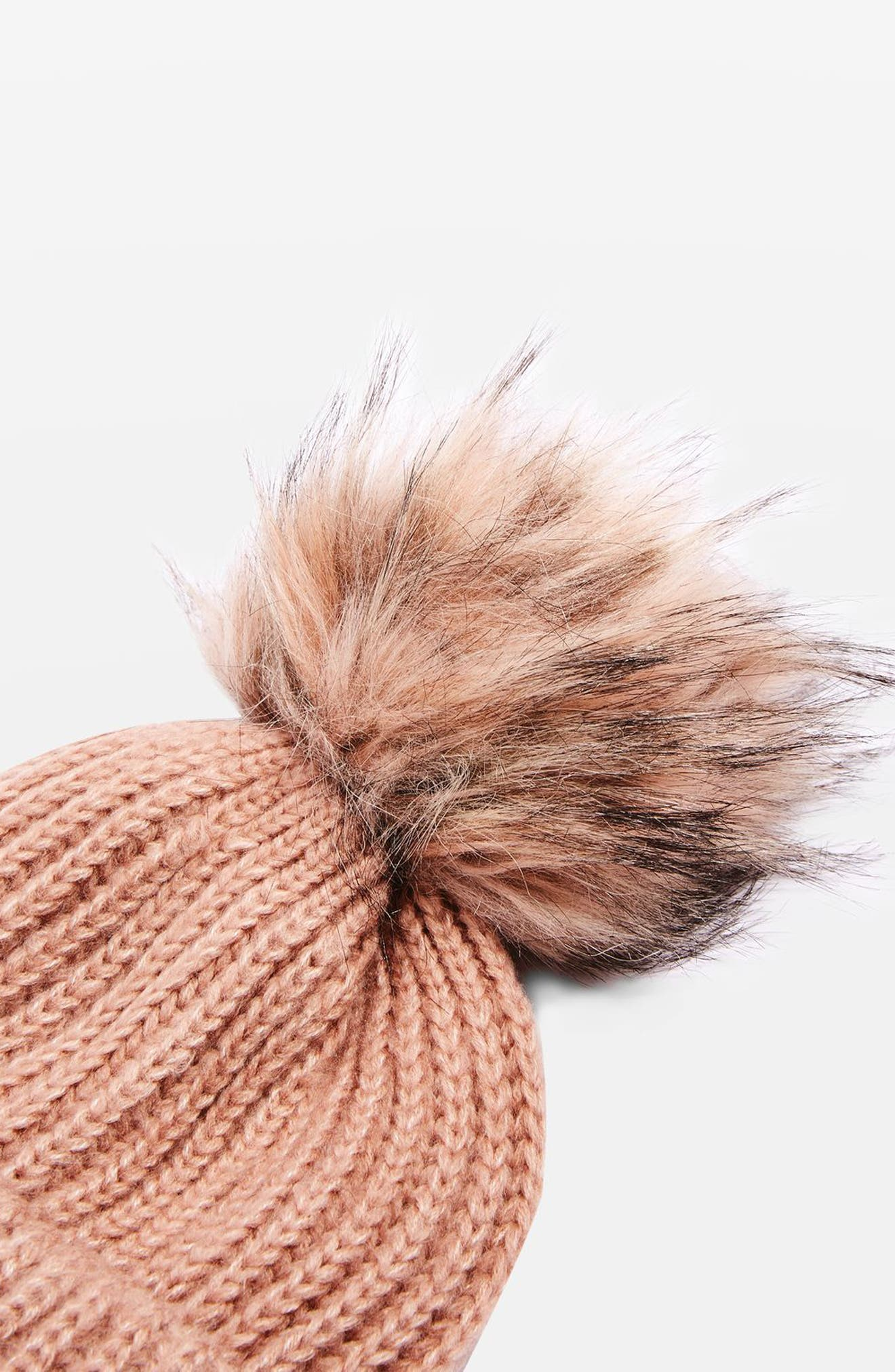 Faux Fur Pompom Beanie,                             Alternate thumbnail 6, color,