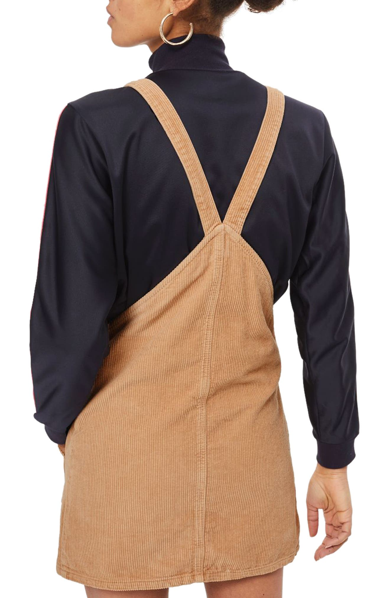 Button Front Corduroy Pinafore Dress,                             Alternate thumbnail 4, color,