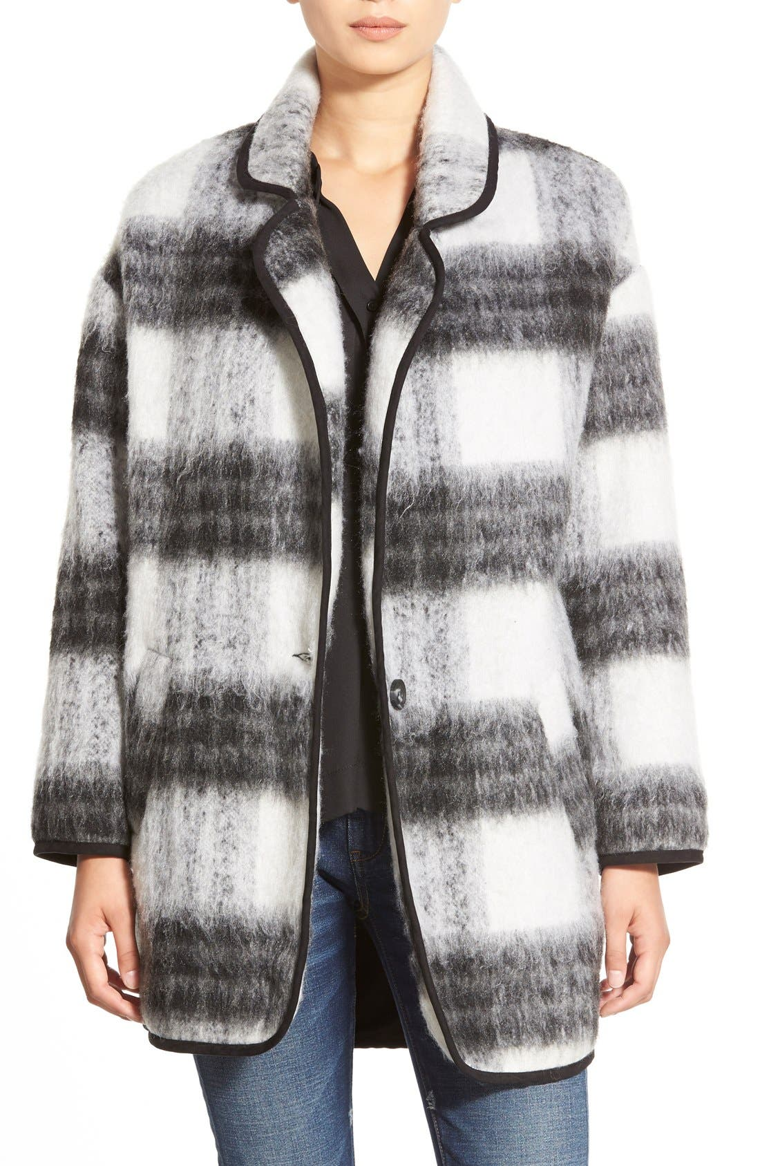ASTR Two Tone Fuzzy Plaid Jacket, Main, color, 009