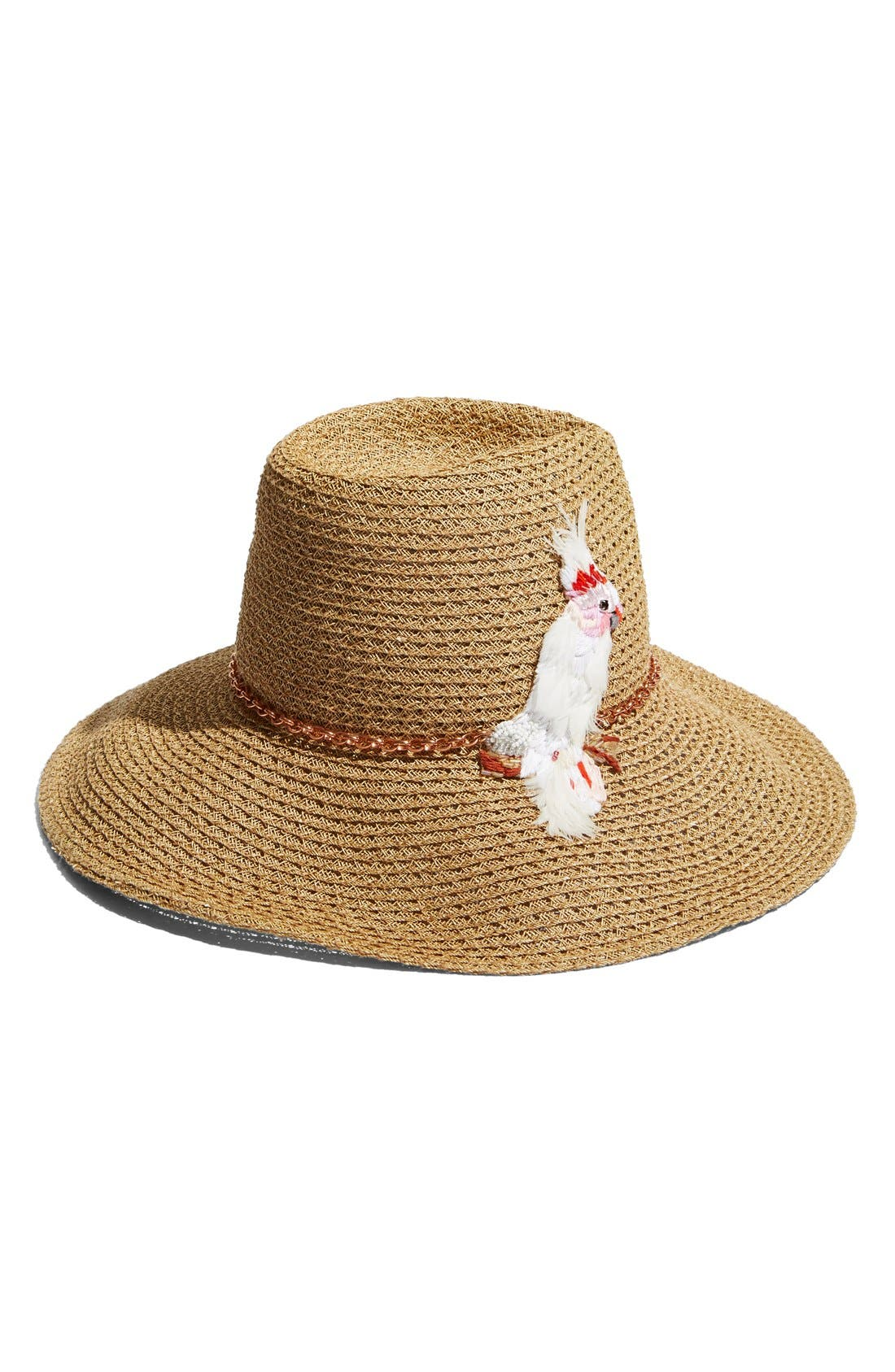 'Emmanuelle' Cockatoo Ornament Straw Hat,                             Alternate thumbnail 4, color,                             250