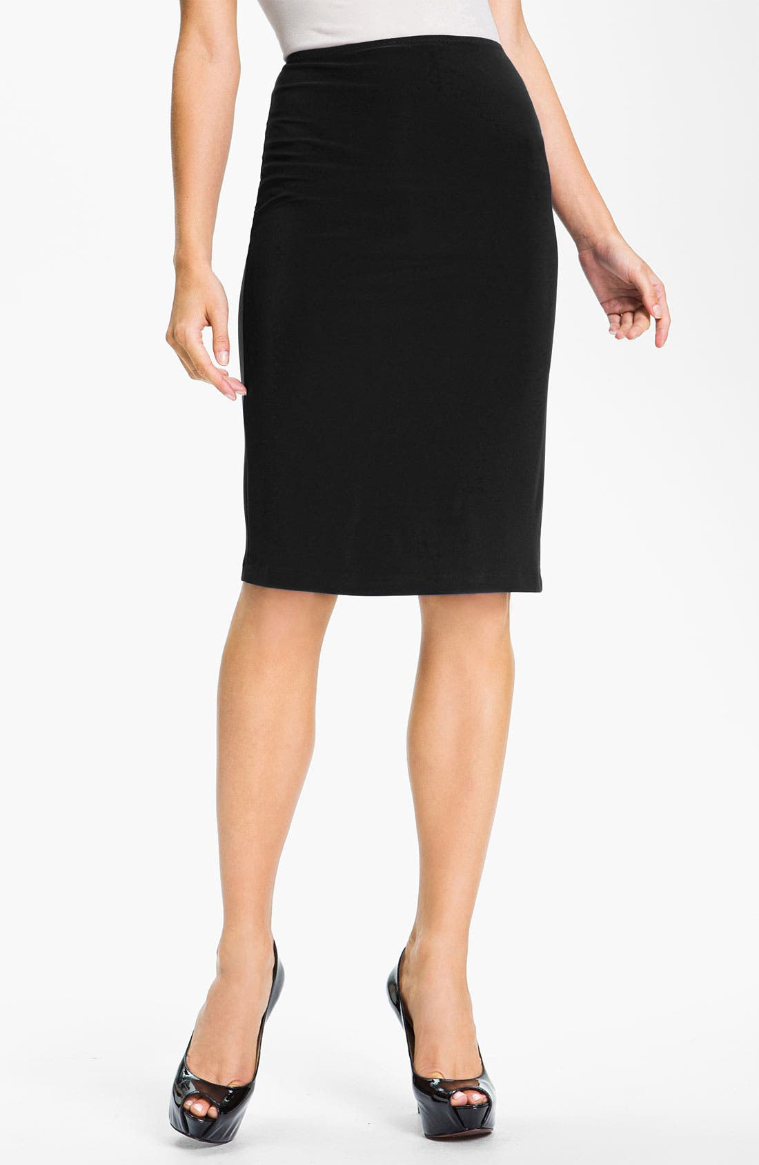 Pull-On Knit Pencil Skirt,                             Main thumbnail 1, color,                             001