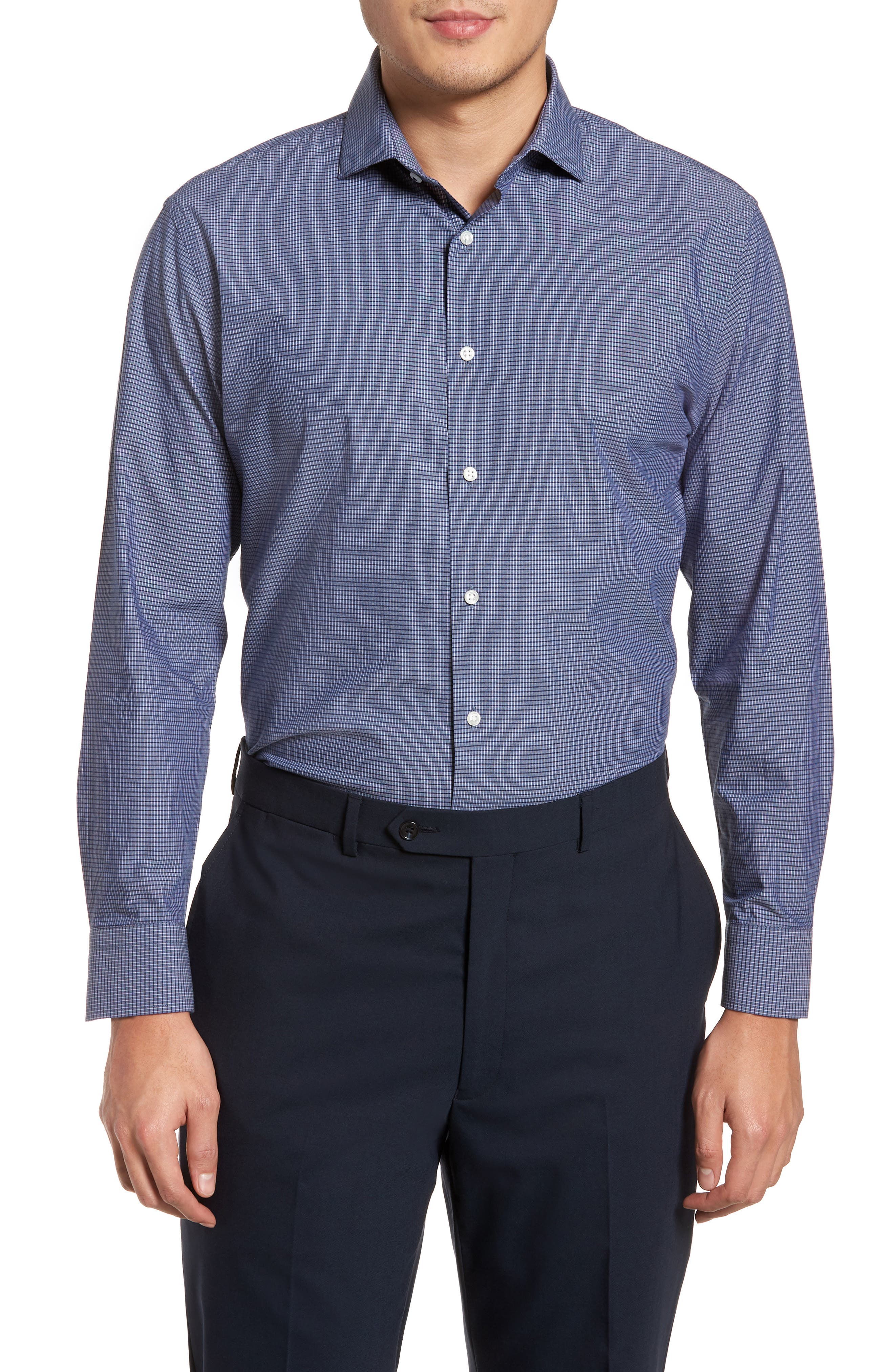 Tech-Smart Trim Fit Stretch Check Dress Shirt,                         Main,                         color, 410
