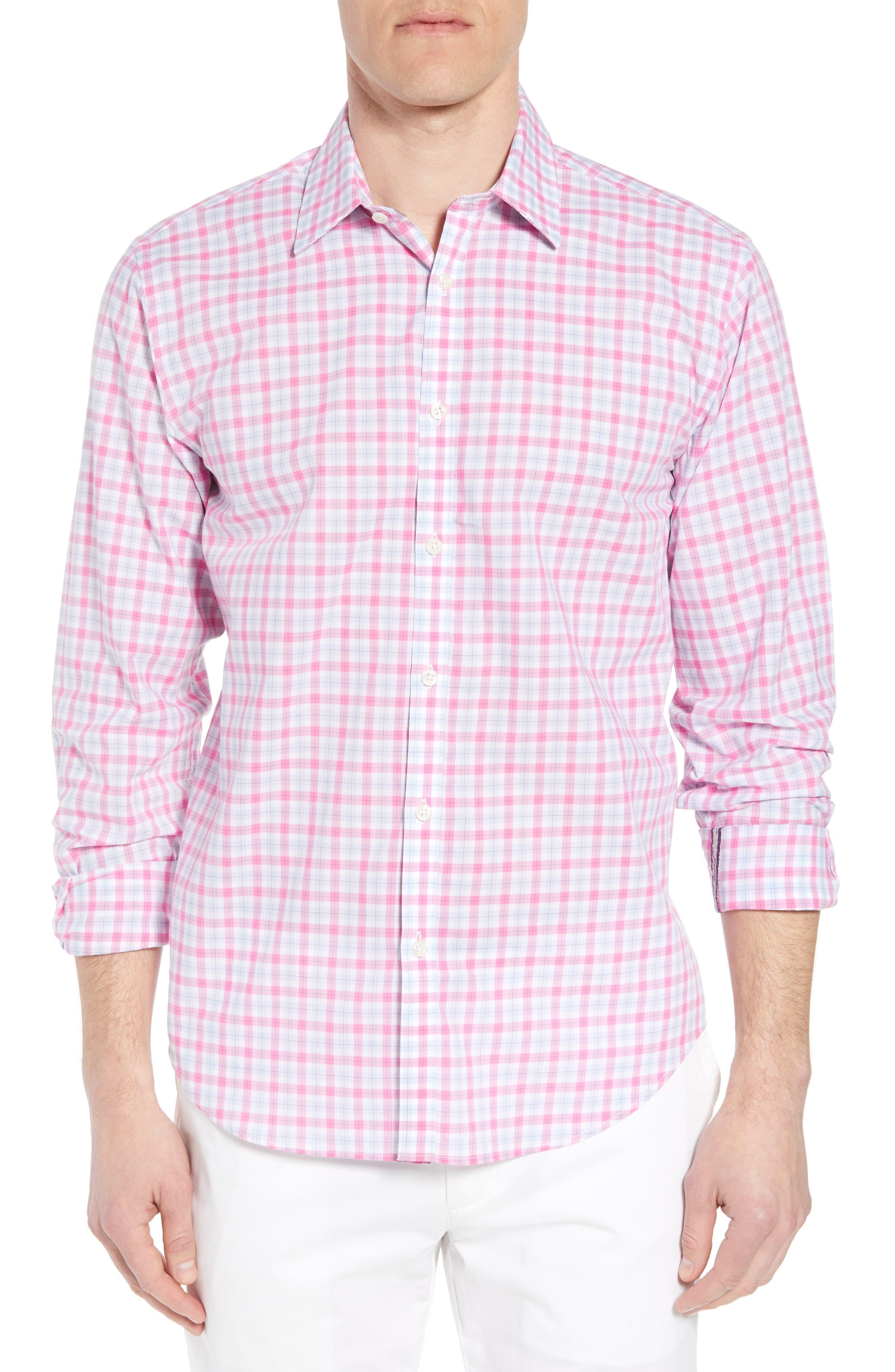 Slim Fit Grid Sport Shirt,                             Main thumbnail 1, color,                             MEDIUM PINK