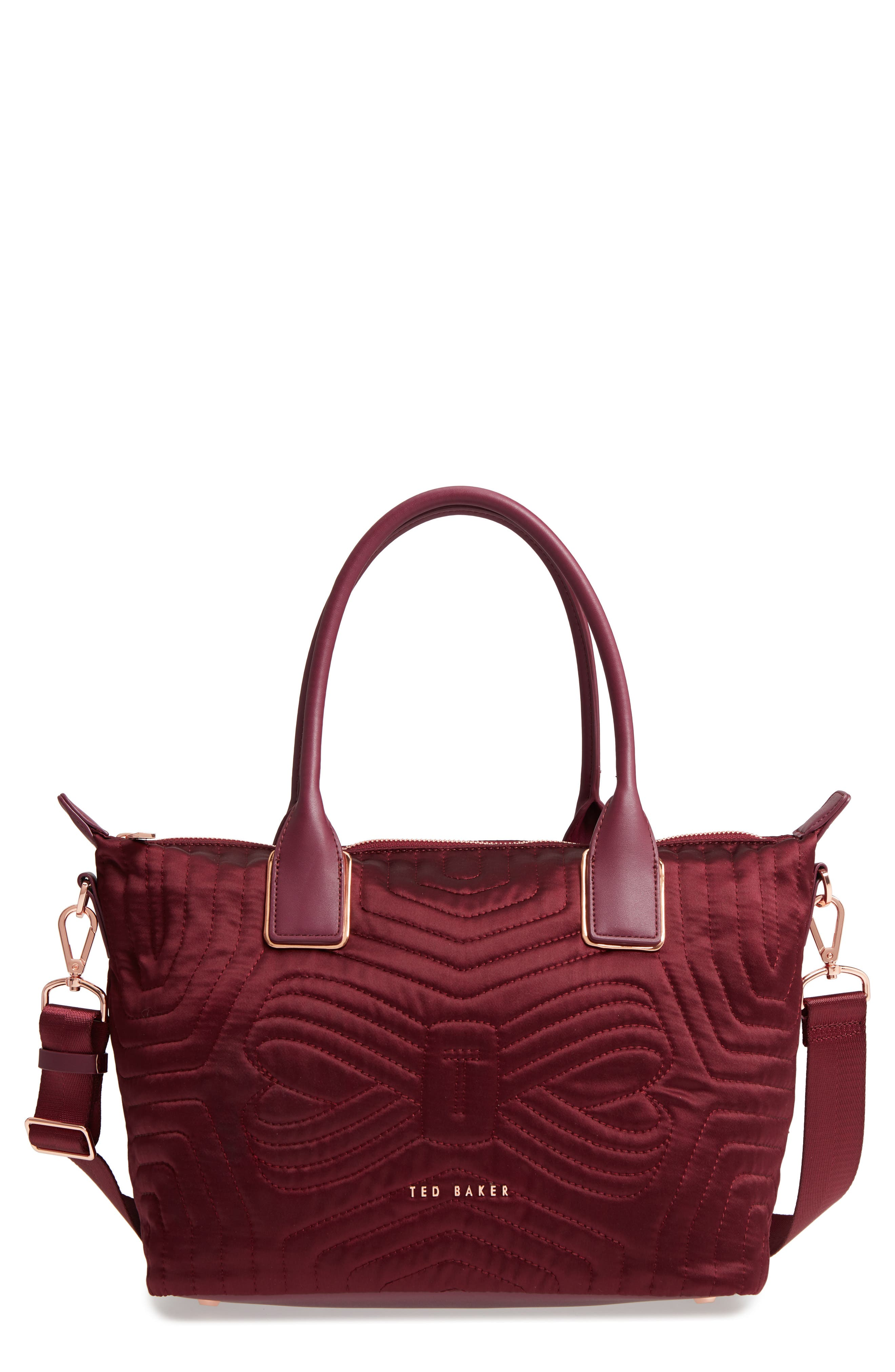 Akebia Quilted Bow Small Nylon Tote,                         Main,                         color, MAROON