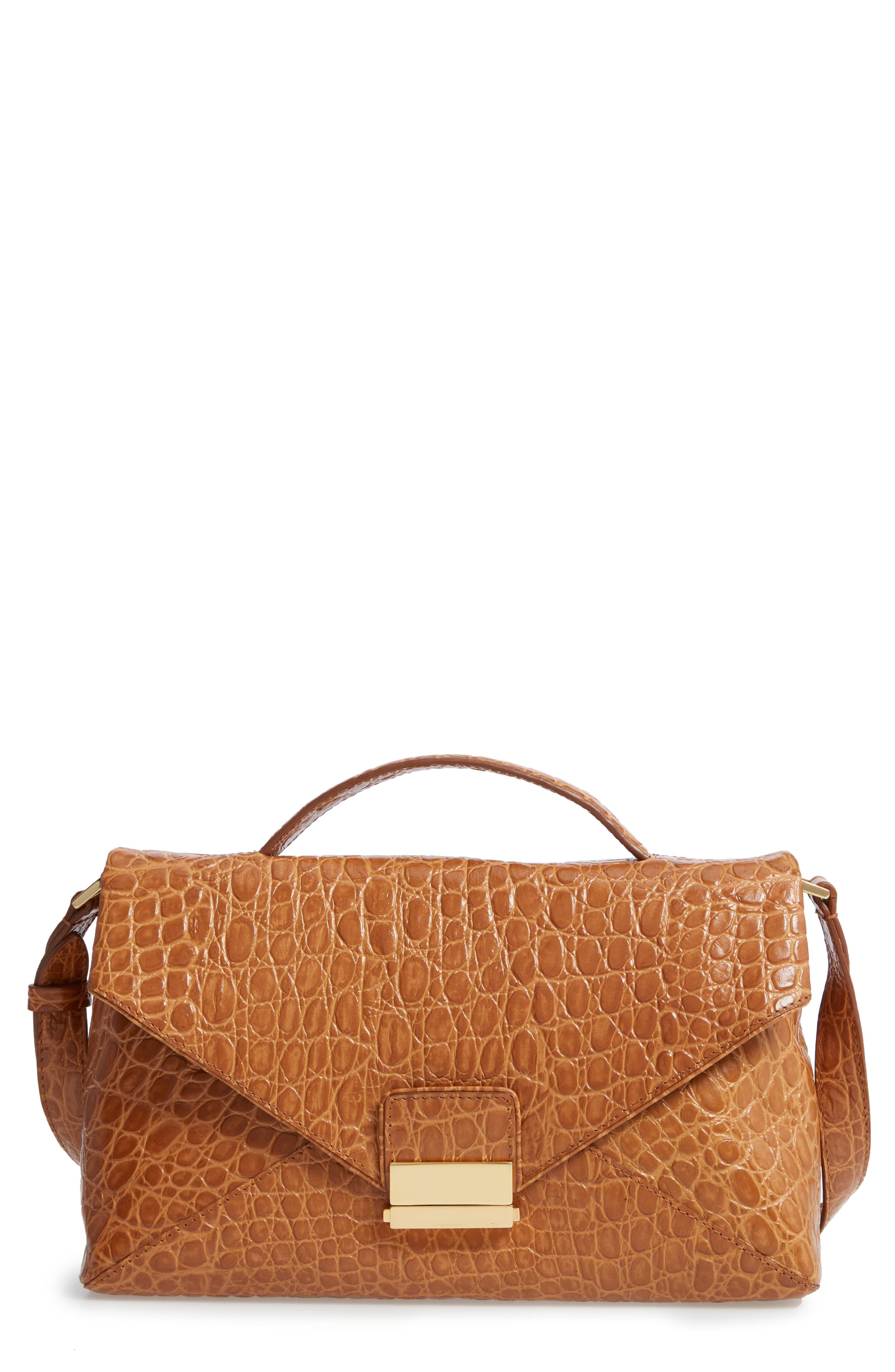 Croc Embossed Leather Shoulder Bag,                             Main thumbnail 1, color,                             GOLD