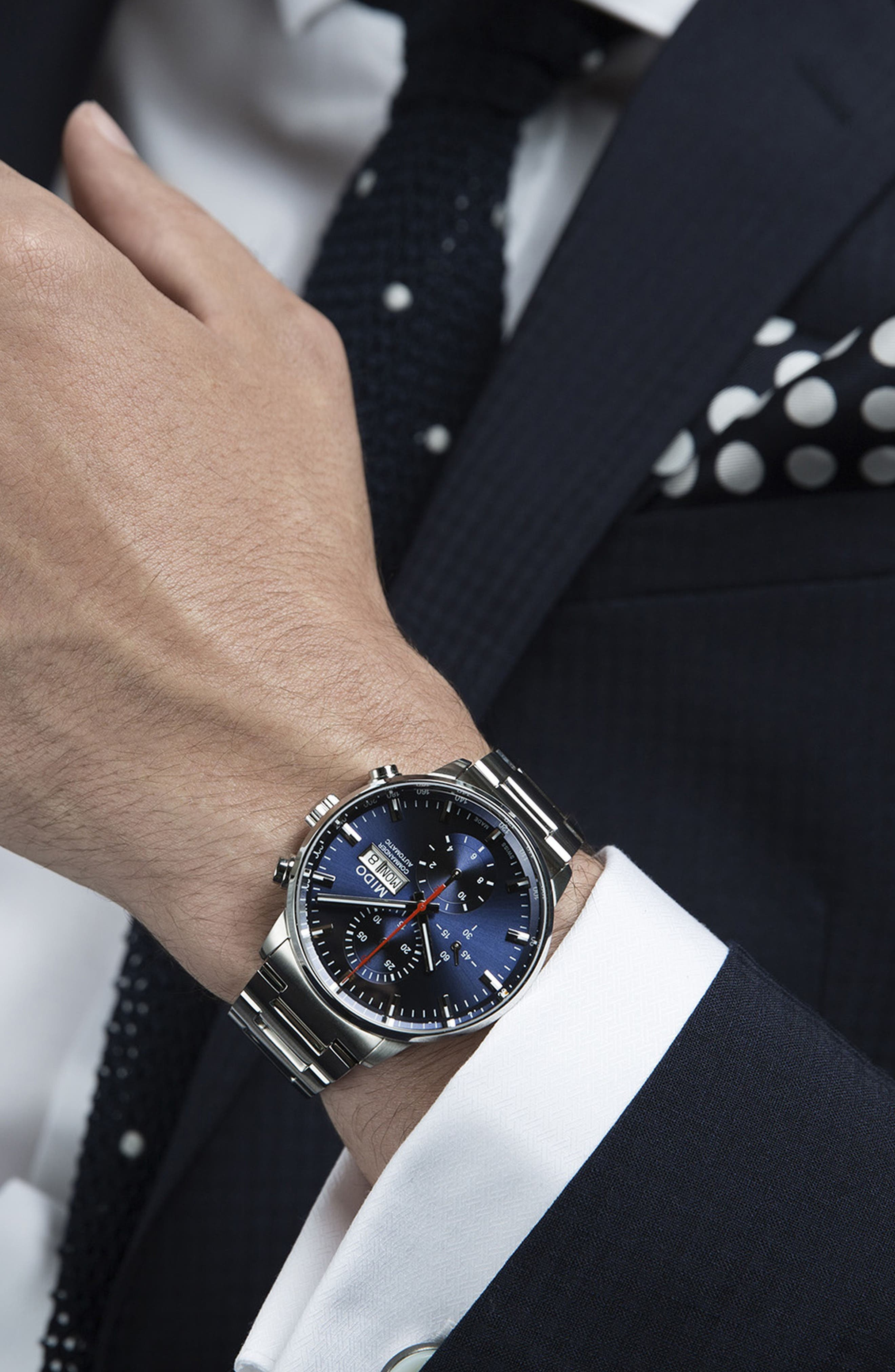 Commander Chronometer Bracelet Watch, 42mm,                             Alternate thumbnail 4, color,                             SILVER/ BLUE/ SILVER