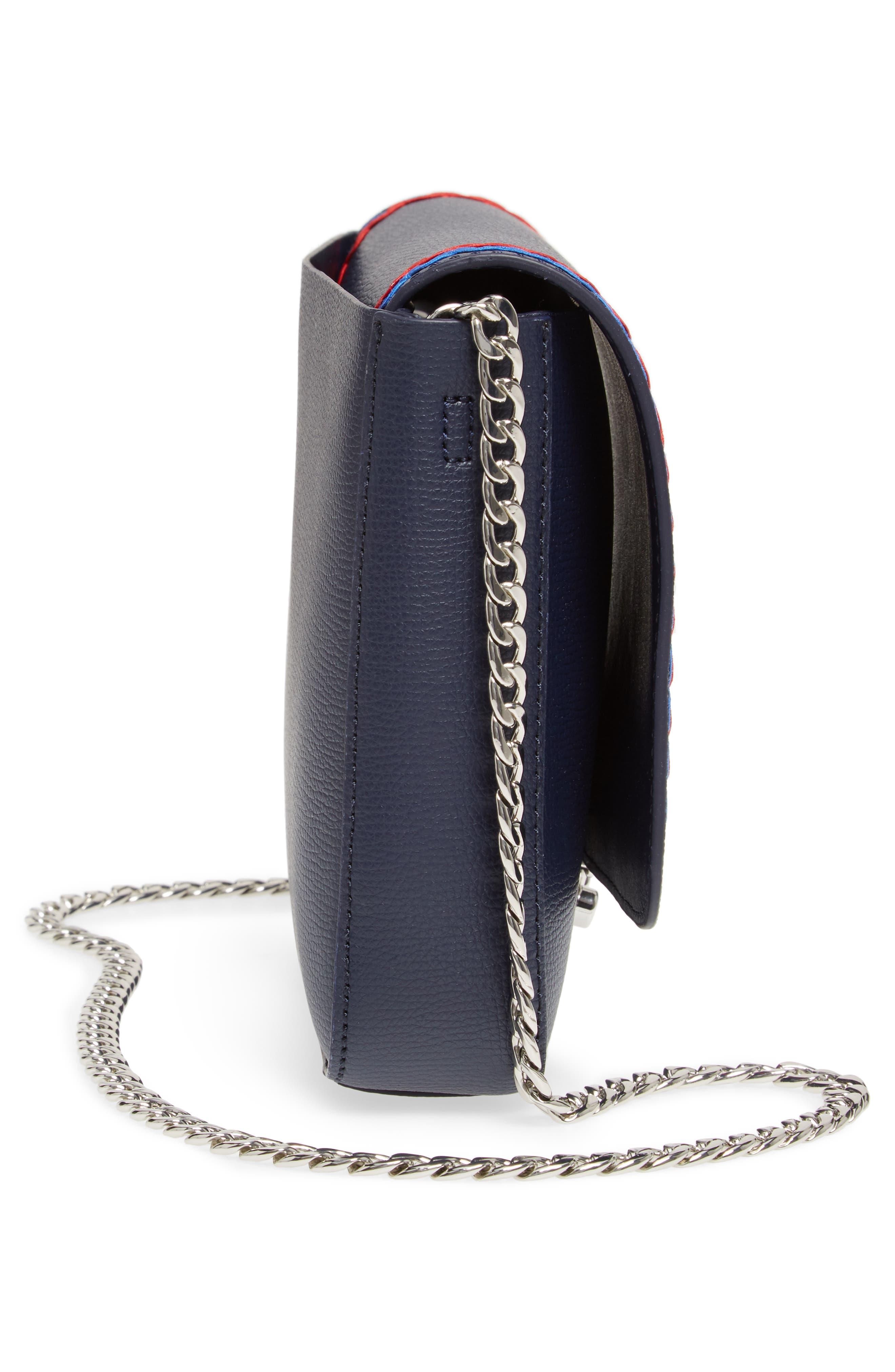 Lock Leather Flap Clutch/Shoulder Bag,                             Alternate thumbnail 5, color,
