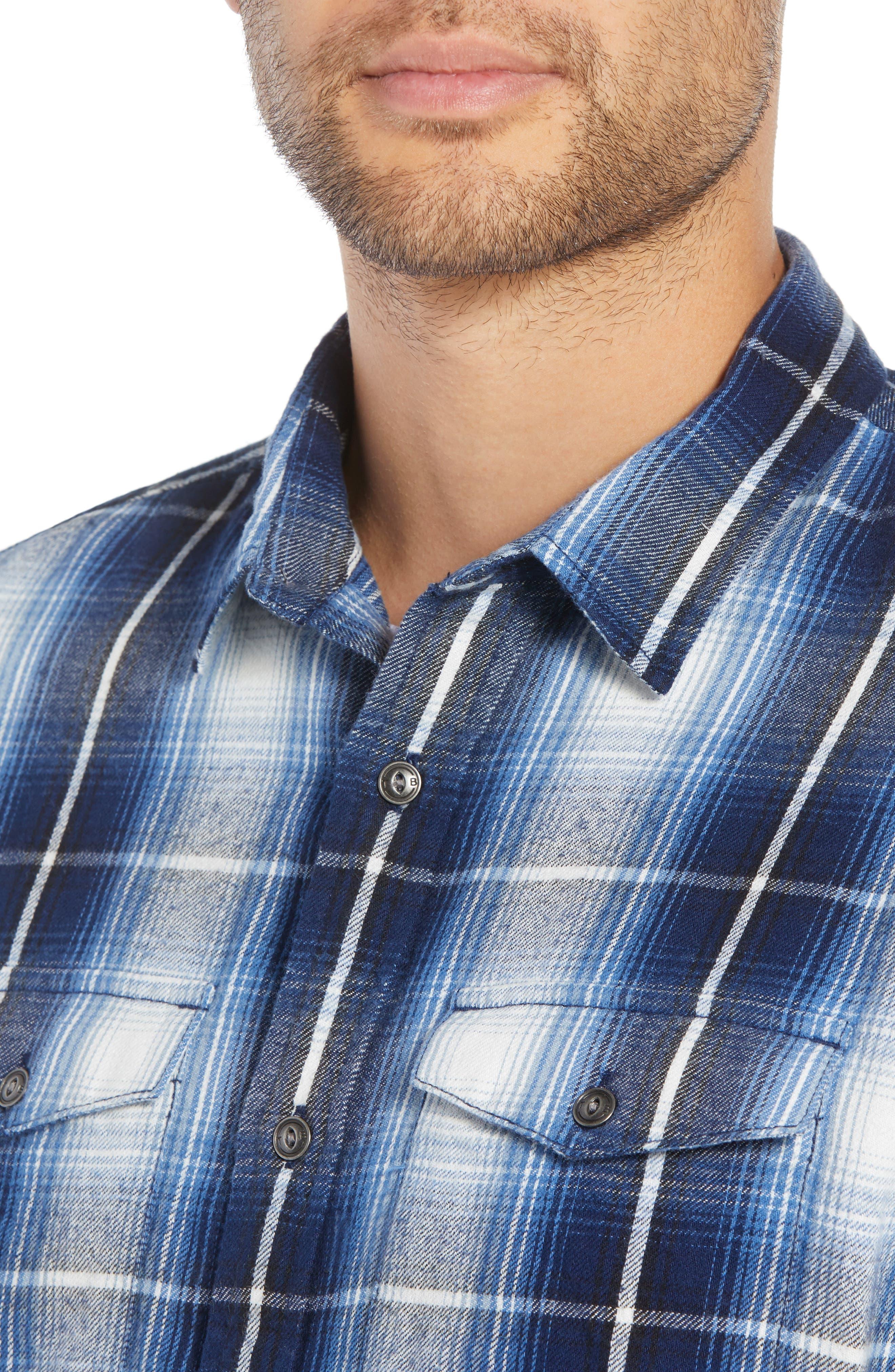 Slim Fit Plaid Flap Pocket Sport Shirt,                             Alternate thumbnail 4, color,                             BLUE CASPIA RIVER PLAID