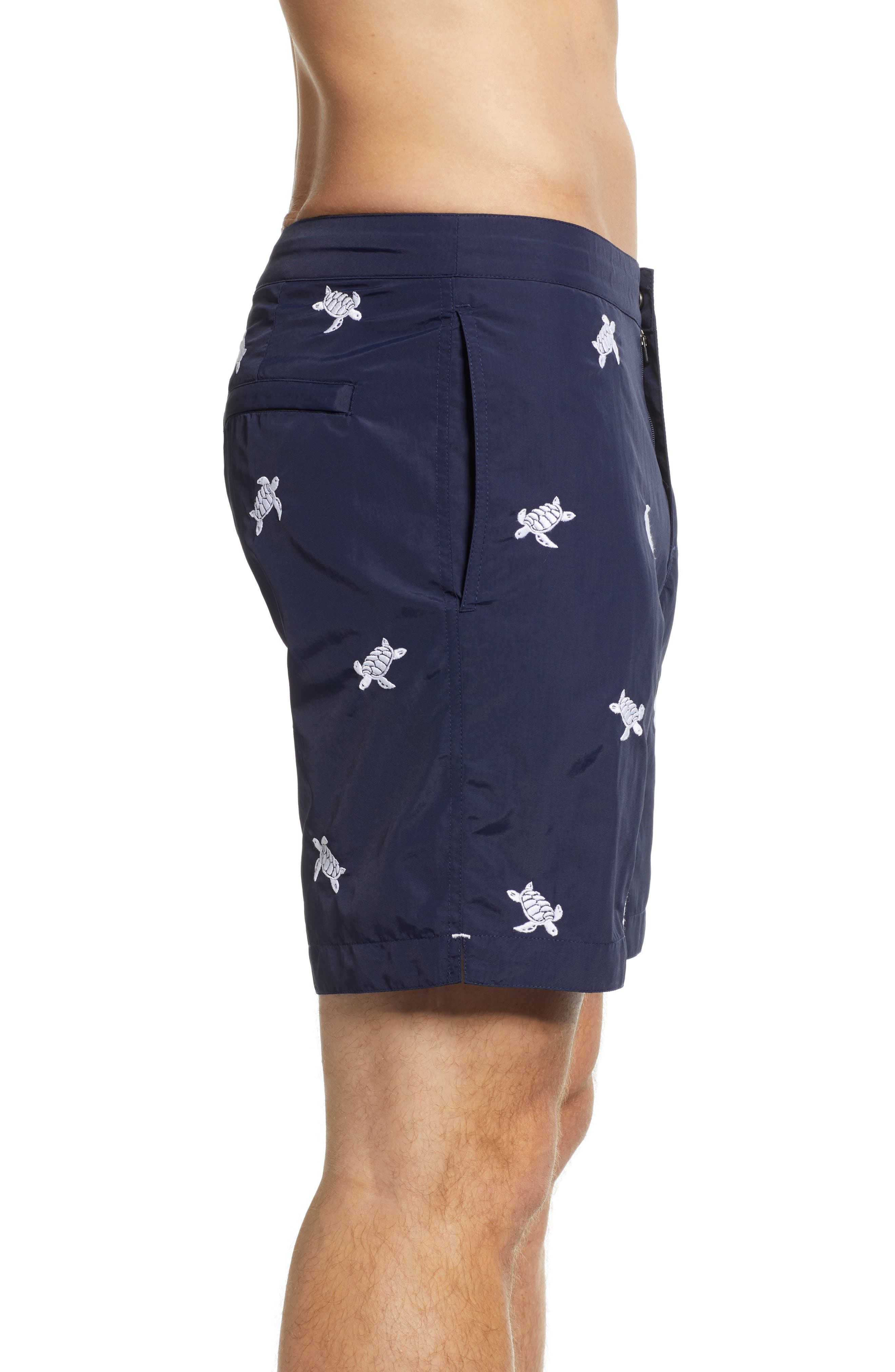 Aruba Embroidered 8.5 Inch Swim Trunks,                             Alternate thumbnail 3, color,                             NAVY EMBROIDERED TURTLES