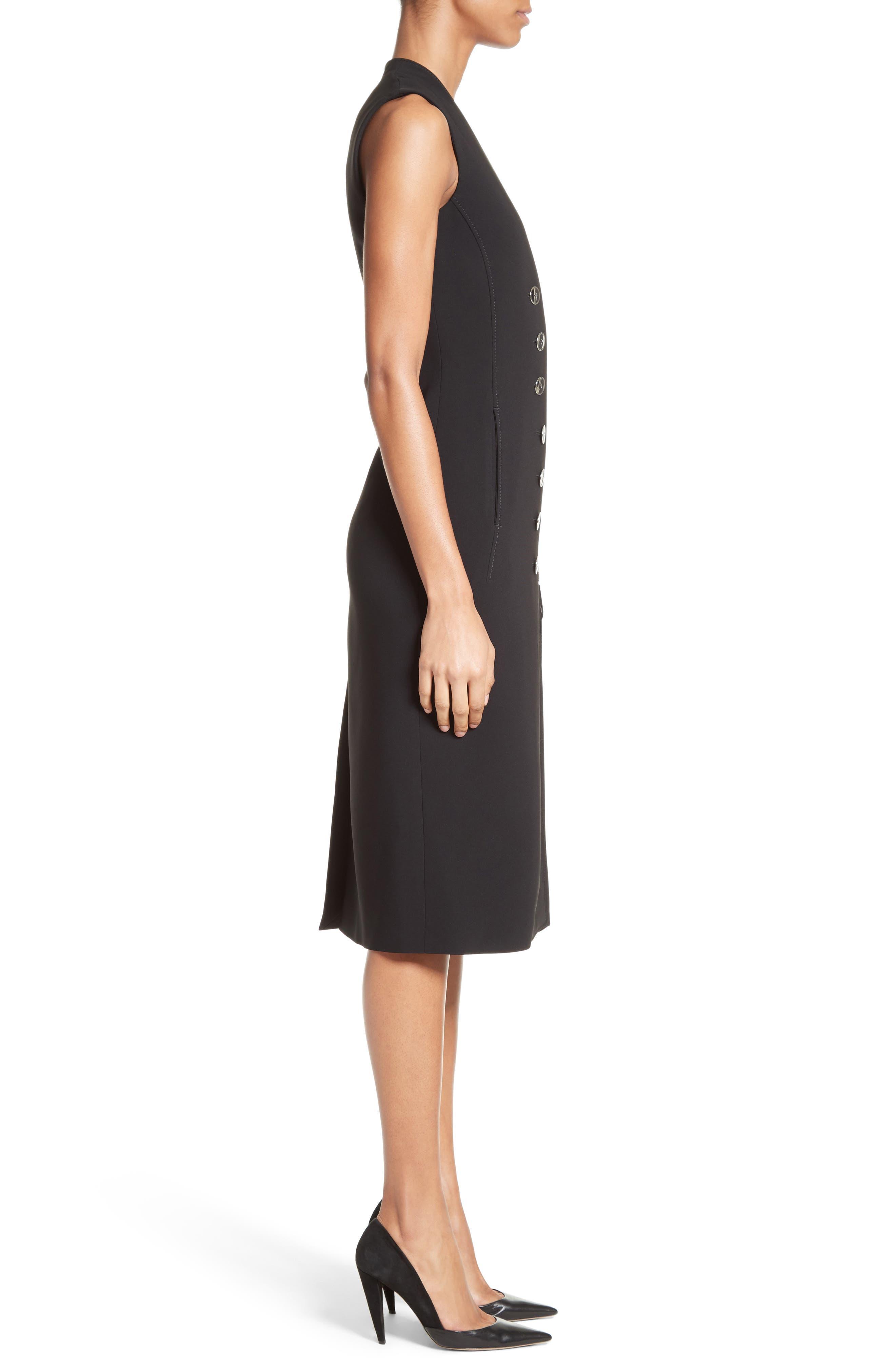 Lucretia Button & Zip Detail Dress,                             Alternate thumbnail 3, color,                             001