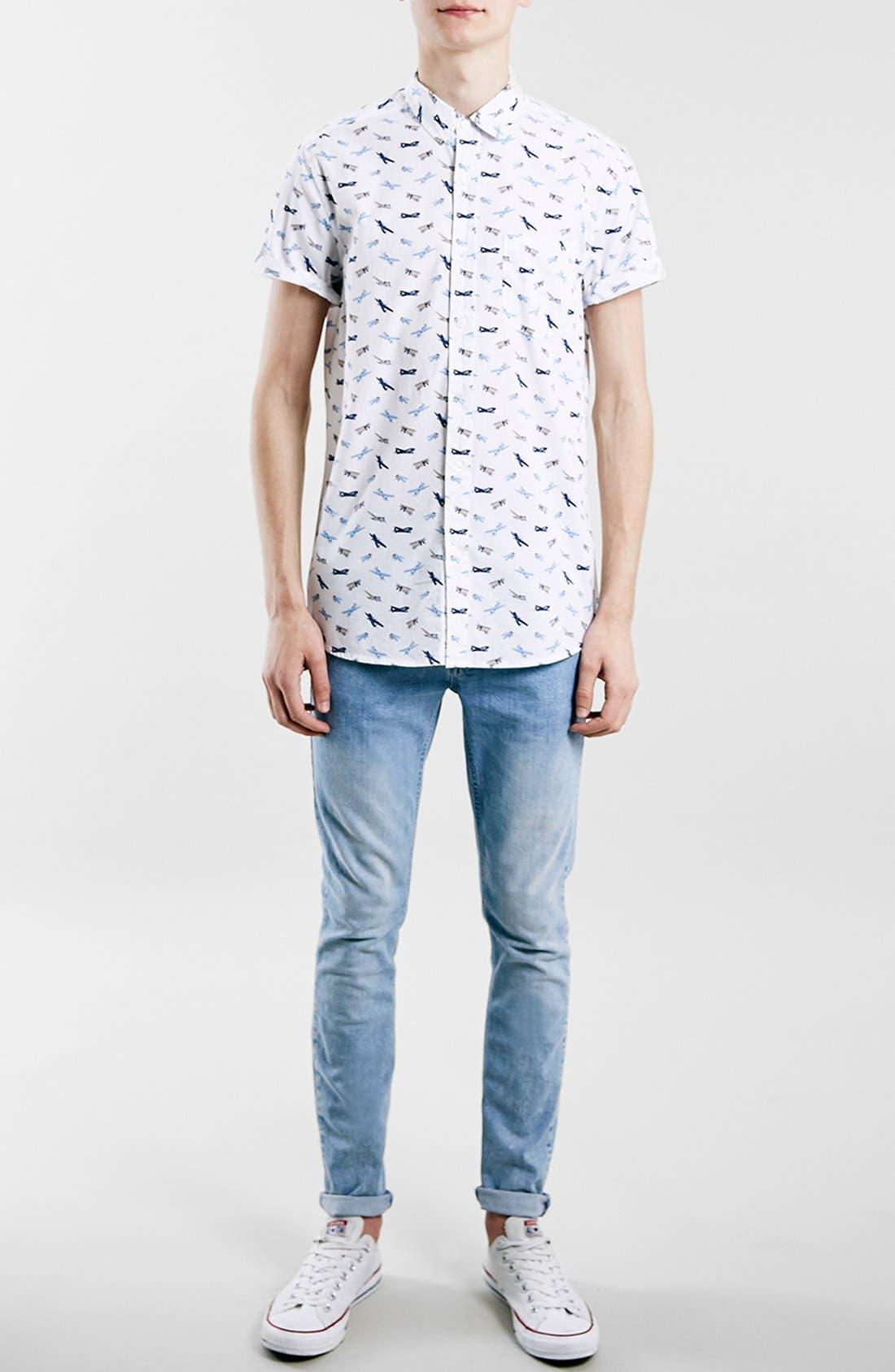 Slim Fit Short Sleeve Airplane Print Shirt,                             Alternate thumbnail 2, color,                             100