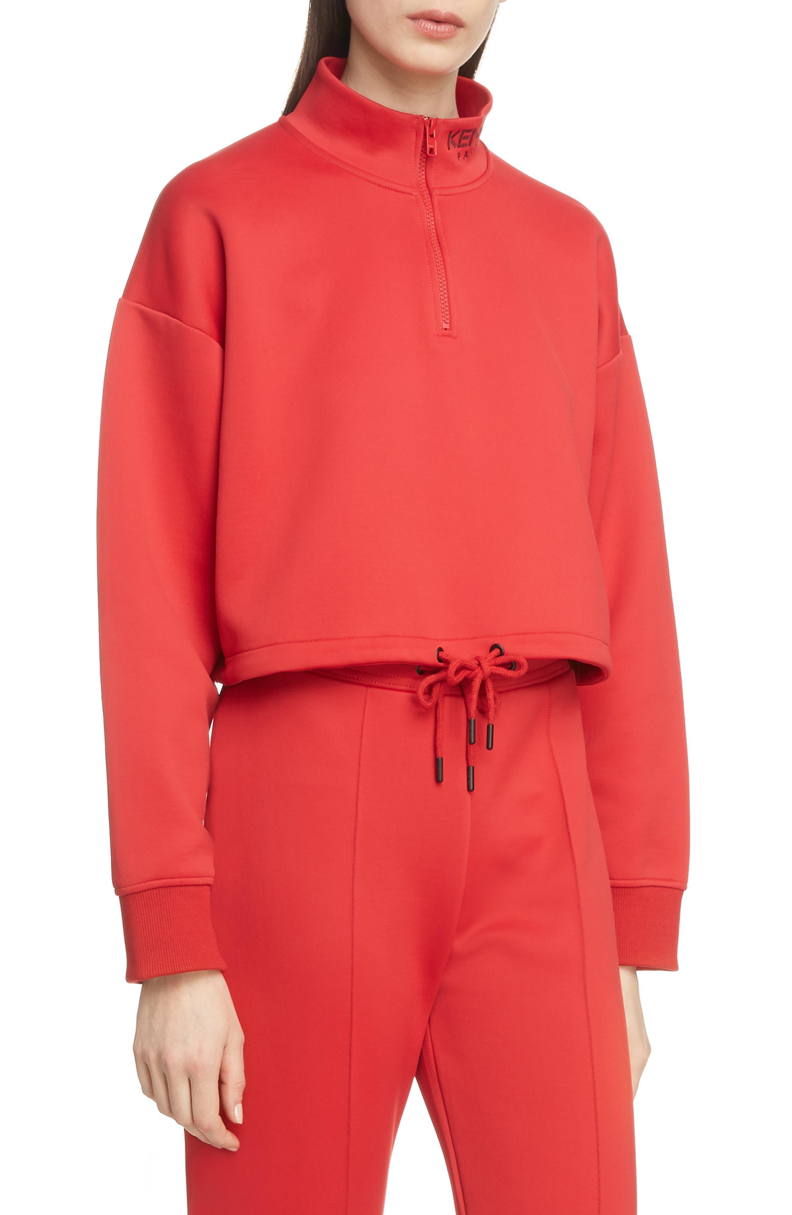 Kenzo Sport Crop Half Zip Sweater, Red