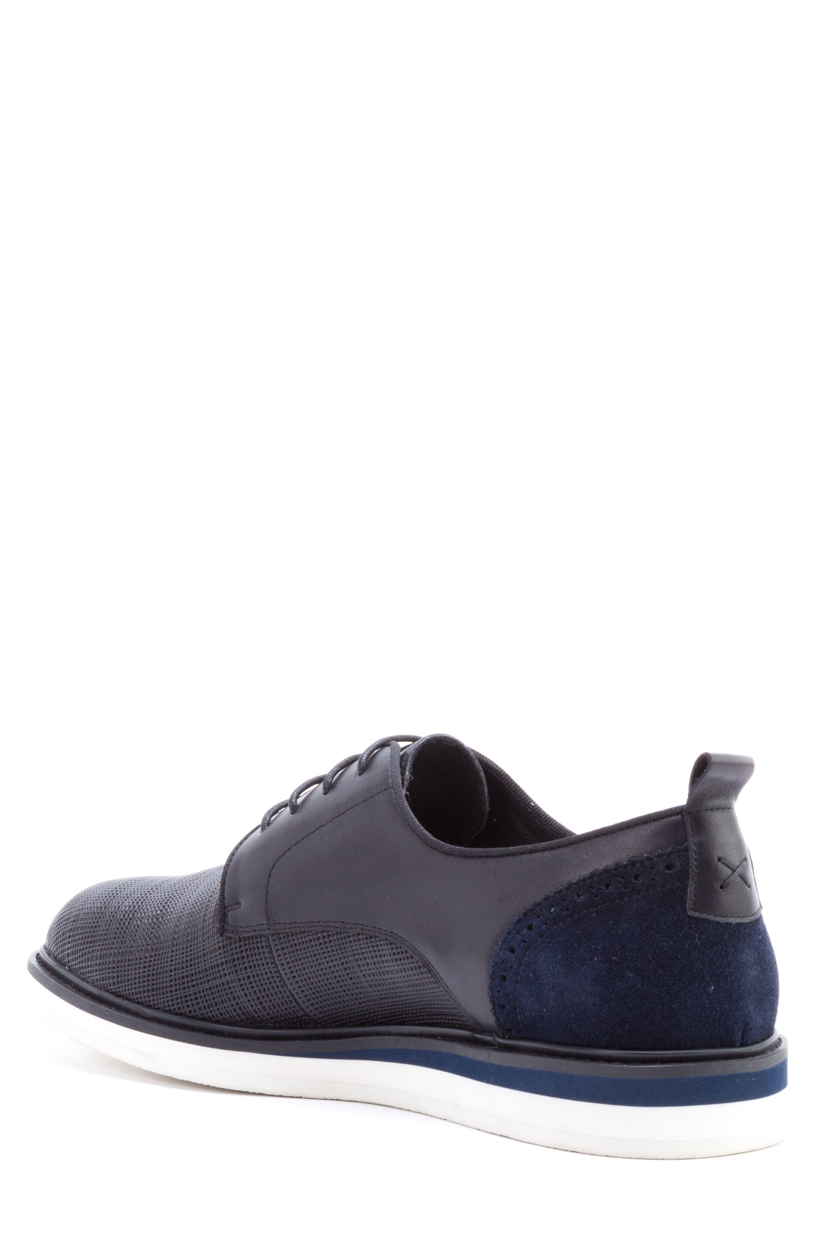 Stem Textured Plain Toe Derby,                             Alternate thumbnail 2, color,                             BLACK LEATHER