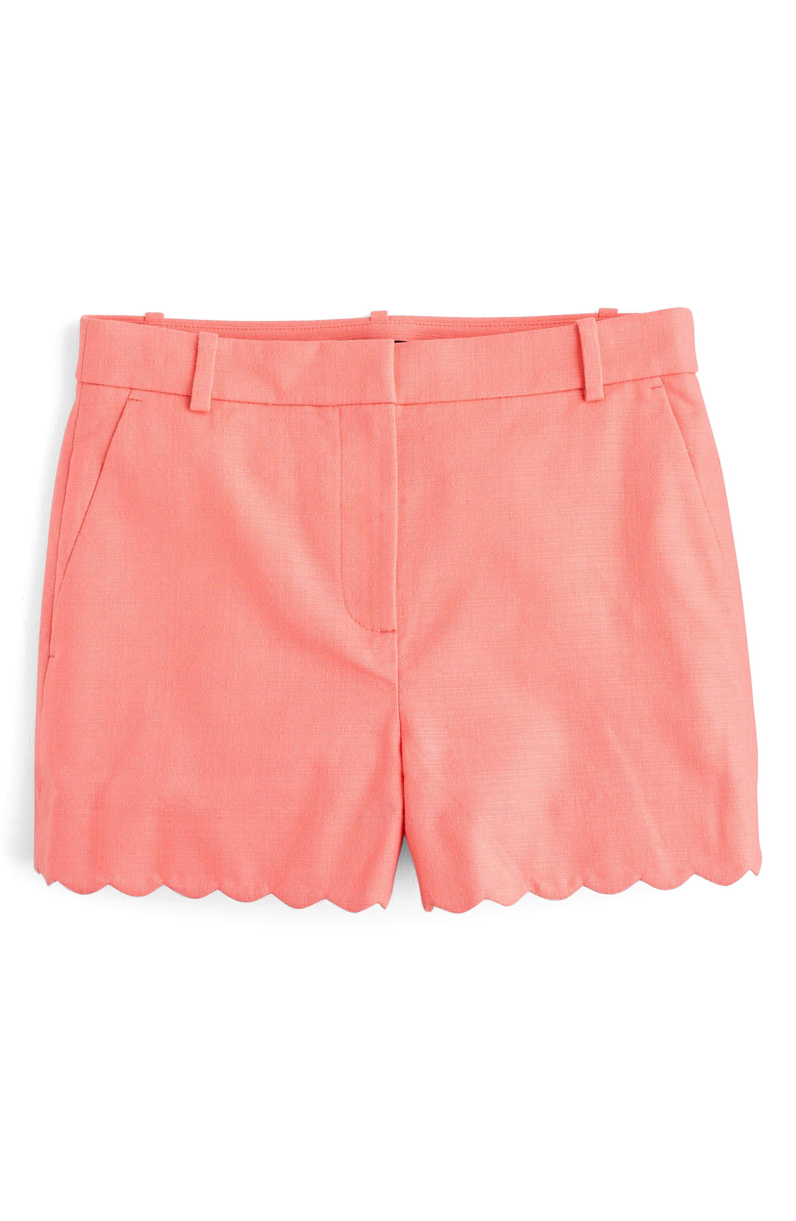 Fiesta Scallop Hem Stretch Cotton Shorts,                             Alternate thumbnail 8, color,