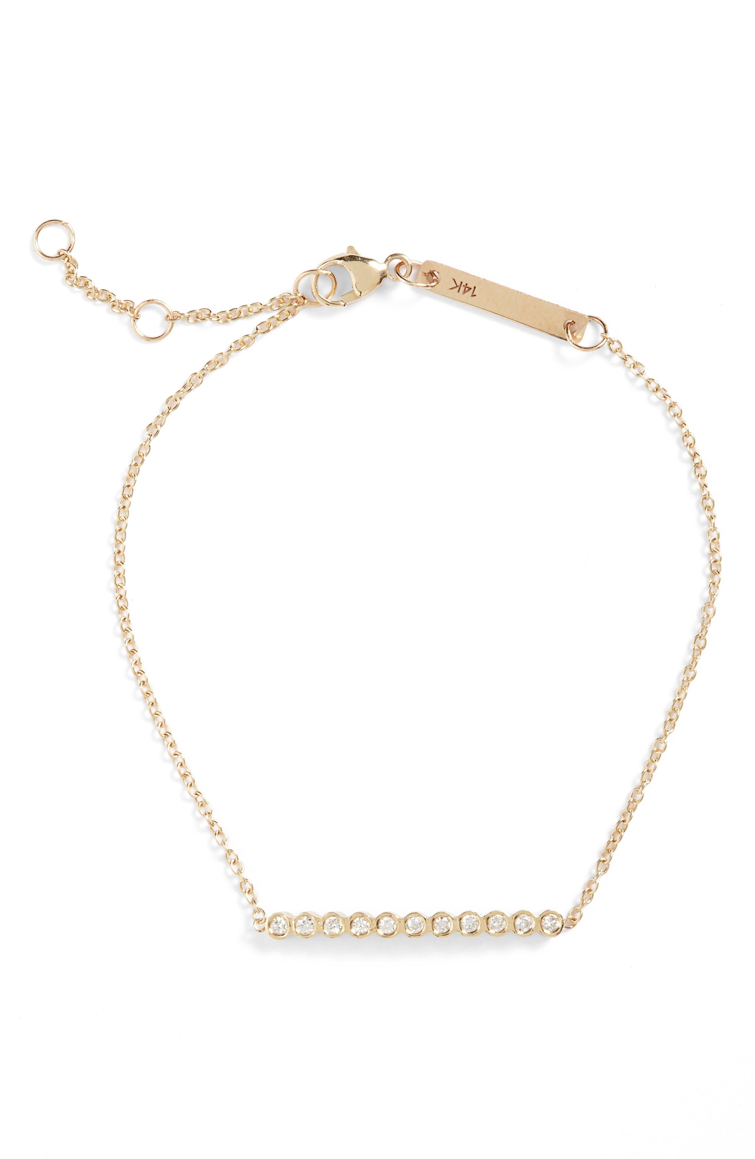 Diamond Bar Bracelet,                             Alternate thumbnail 2, color,                             YELLOW GOLD
