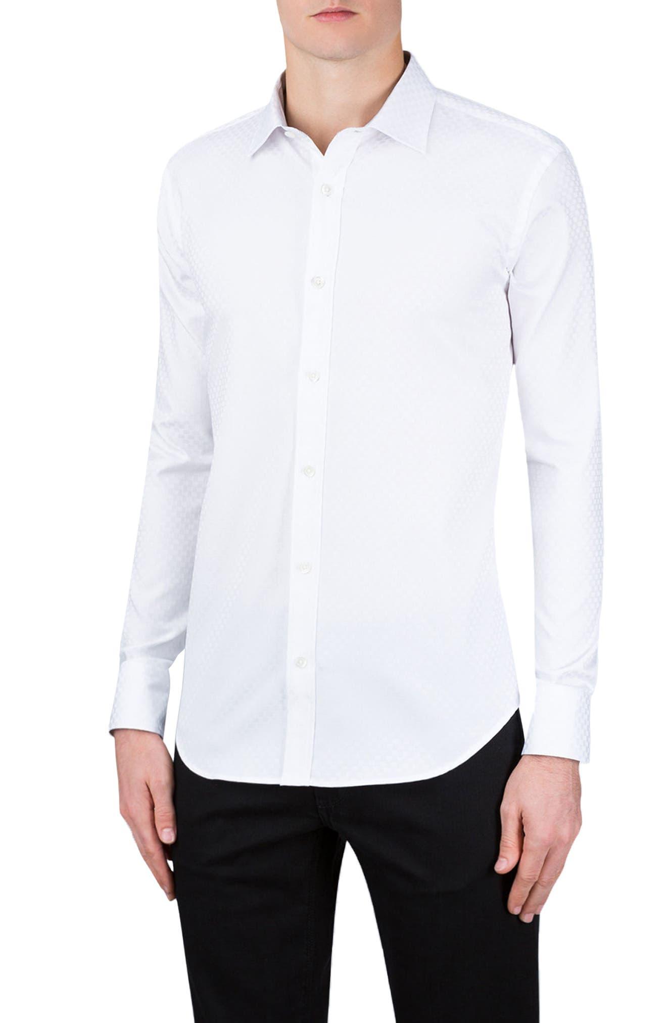 Shaped Fit Rectangle Jacquard Sport Shirt,                             Main thumbnail 2, color,