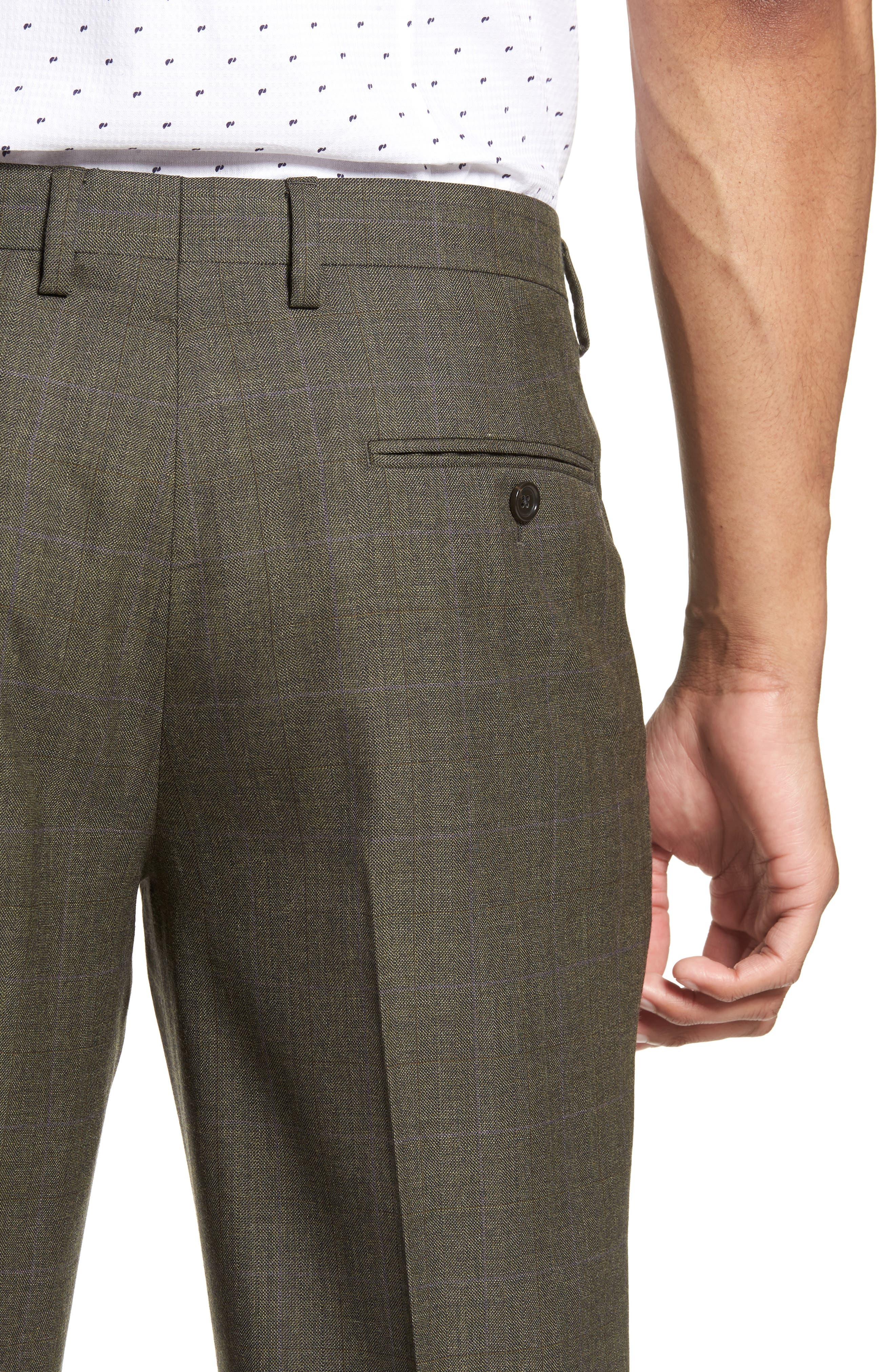 Ludlow Trim Fit Herringbone Wool Pants,                             Alternate thumbnail 4, color,                             300
