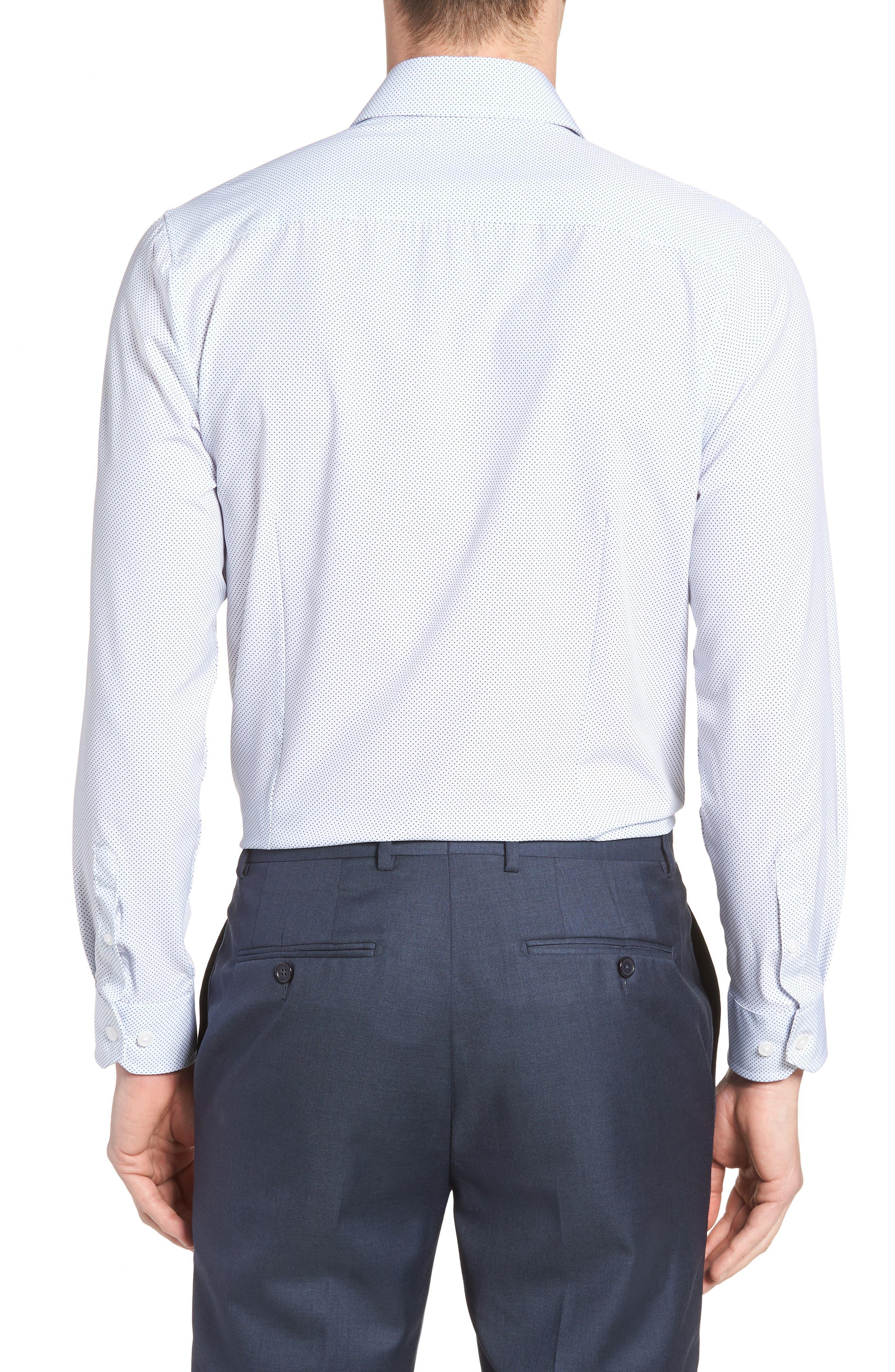 W.R.K,                             Trim Fit Dot 4-Way Stretch Dress Shirt,                             Alternate thumbnail 3, color,                             100