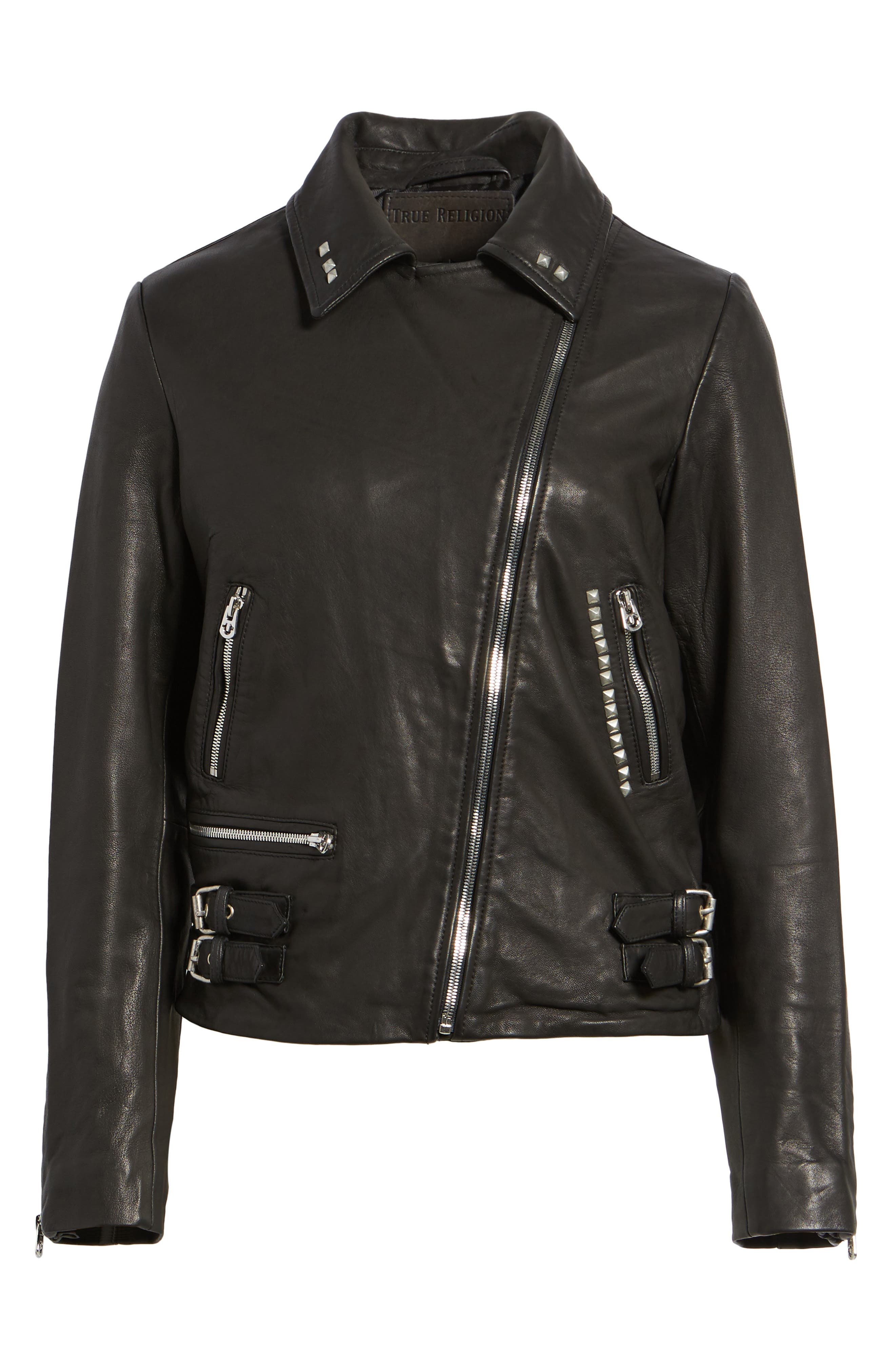 Studded Leather Jacket,                             Alternate thumbnail 5, color,