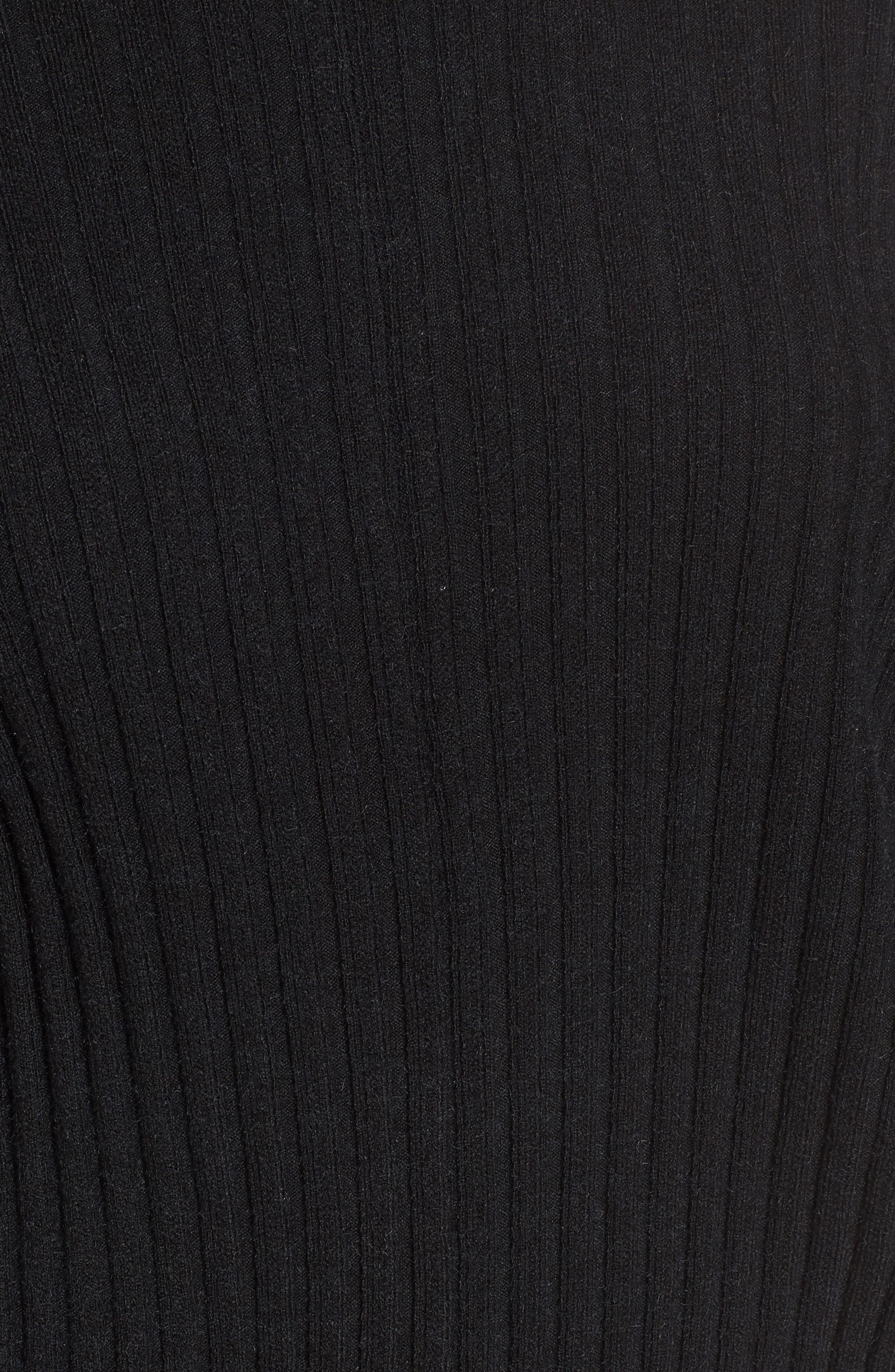 Rib Knit Blouson Sweater,                             Alternate thumbnail 5, color,                             001