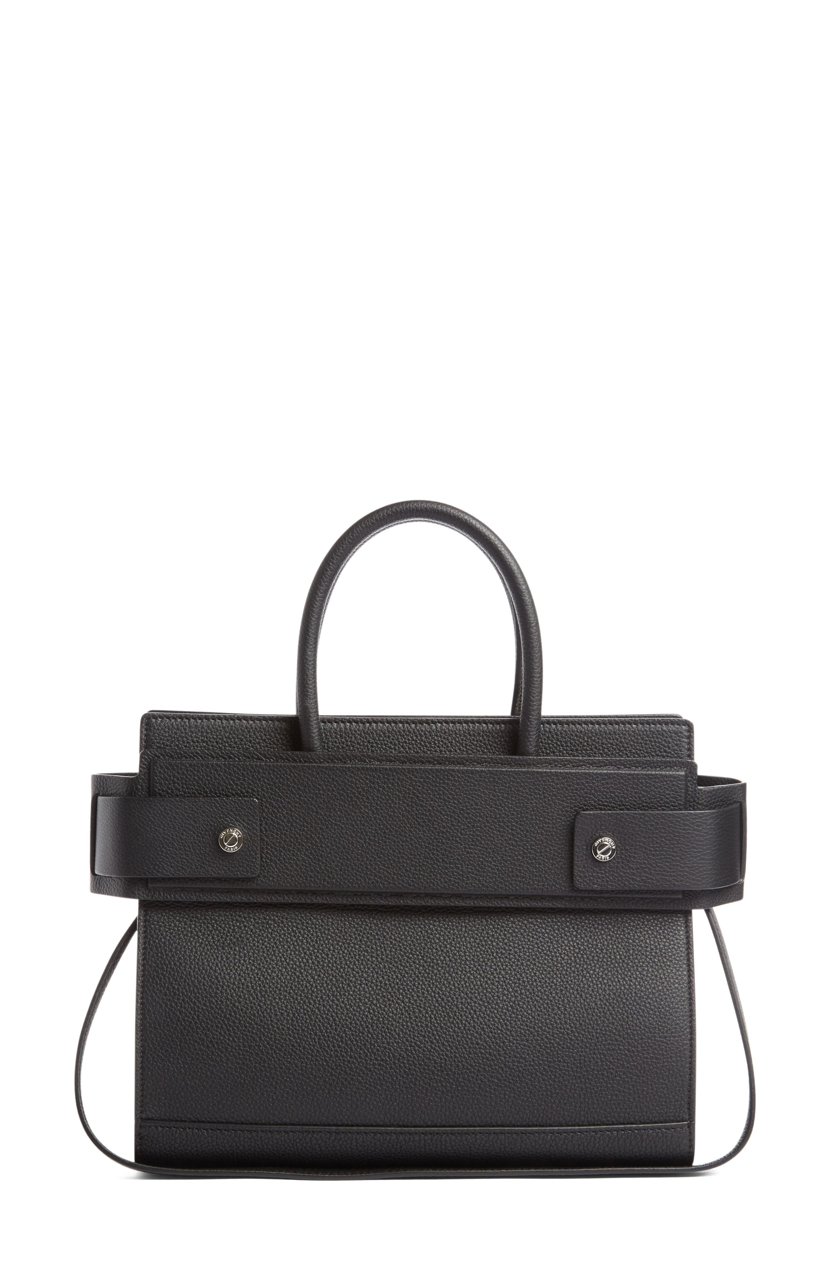 Small Horizon Grained Calfskin Leather Tote,                             Alternate thumbnail 3, color,                             BLACK