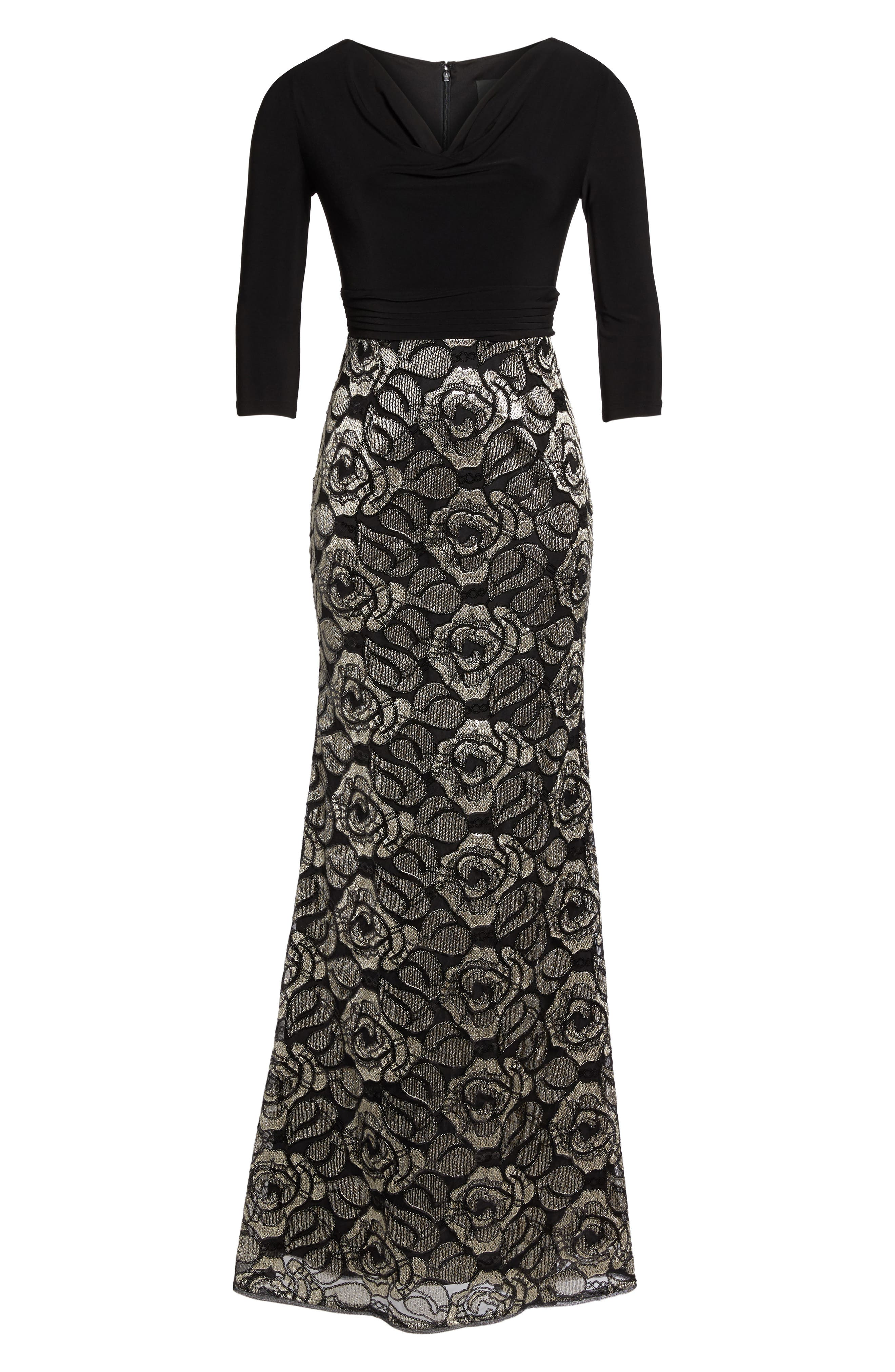 Cowl Neck Rose Lace Gown,                             Alternate thumbnail 6, color,                             018