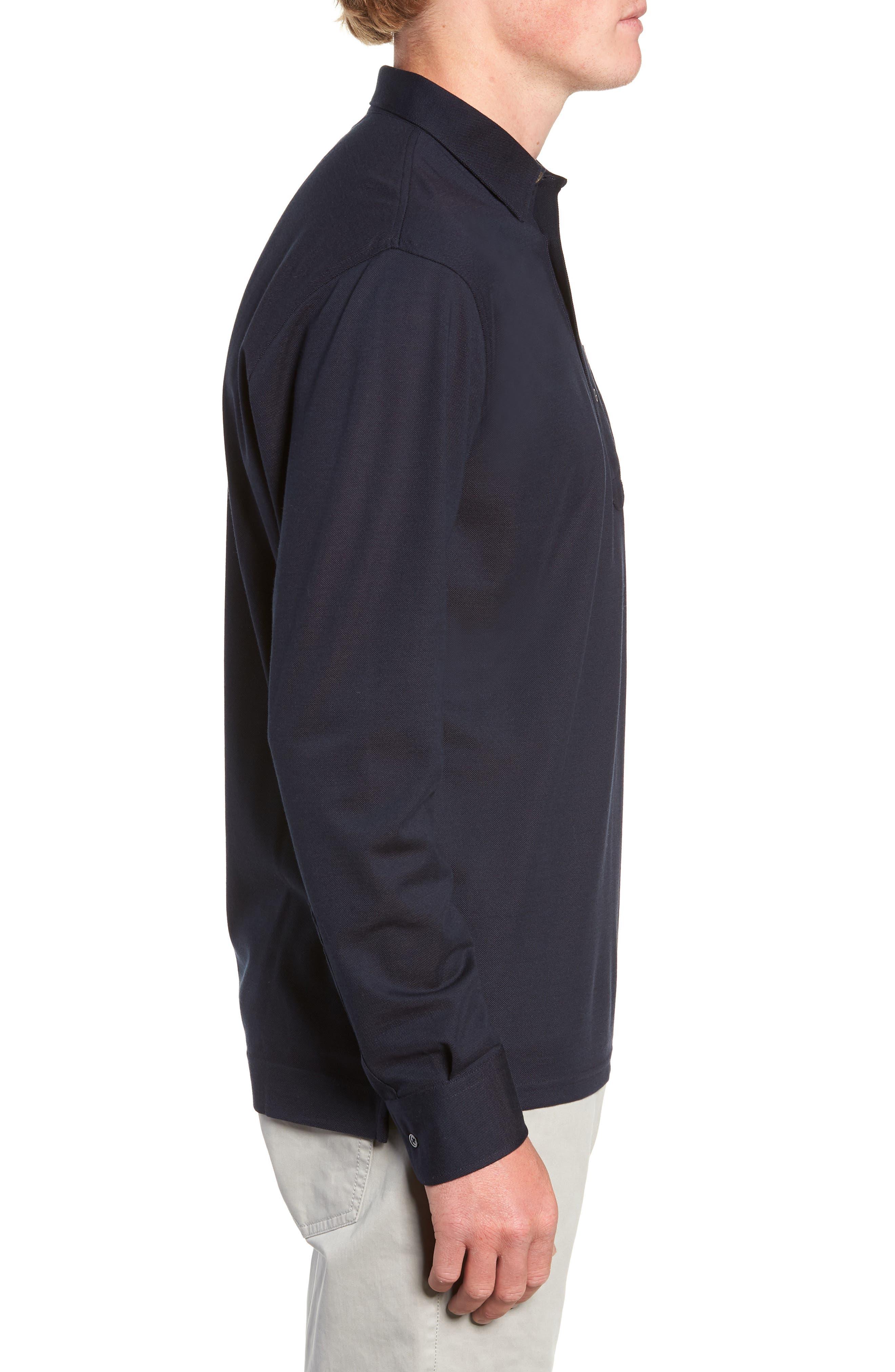 Avon Long Sleeve Silk & Cotton Polo,                             Alternate thumbnail 3, color,                             BARCHETTA