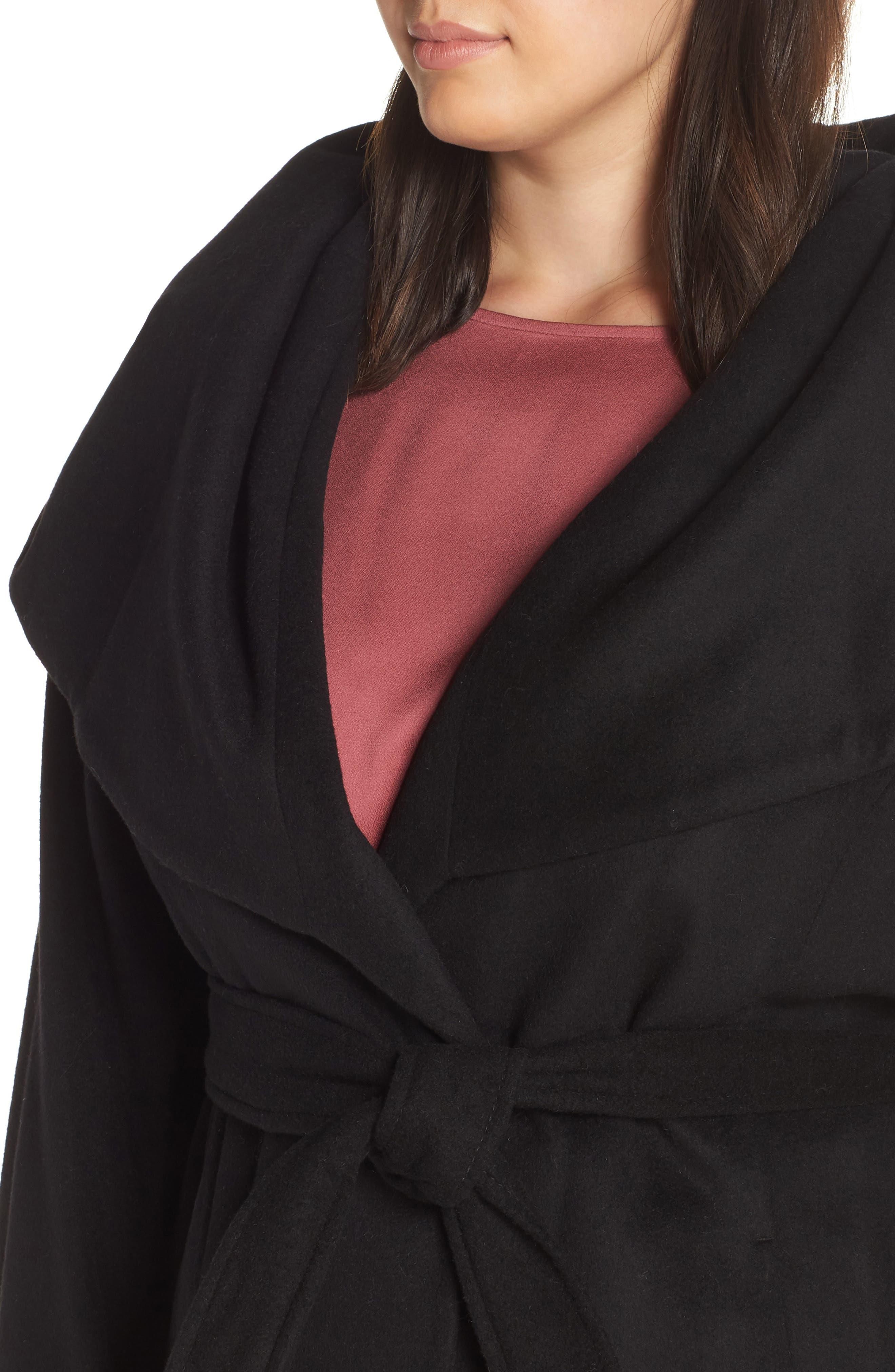 Marla Cutaway Wrap Coat with Oversize Collar,                             Alternate thumbnail 4, color,                             002