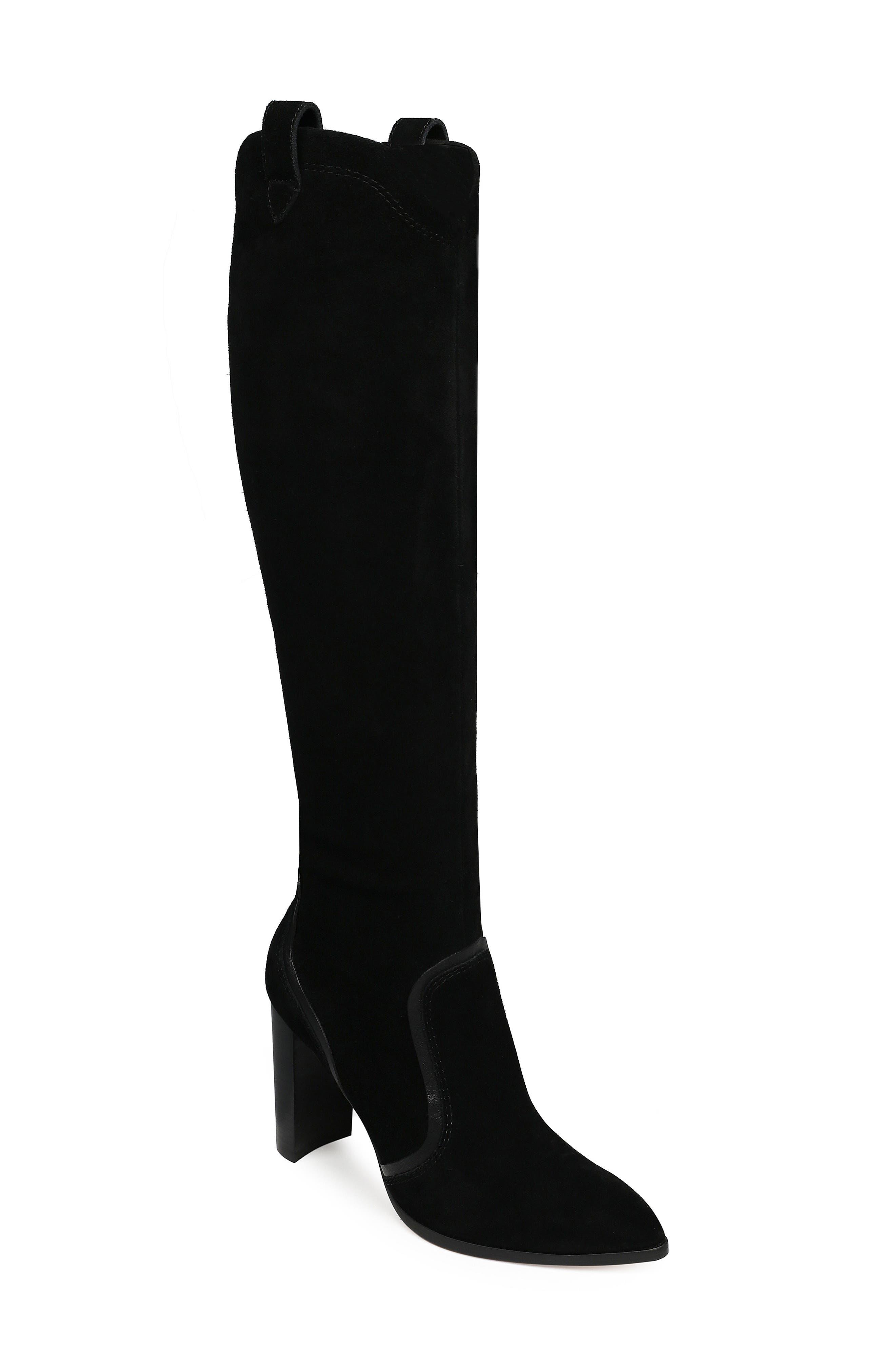 Caren Knee High Boot,                             Main thumbnail 1, color,                             BLACK SUEDE