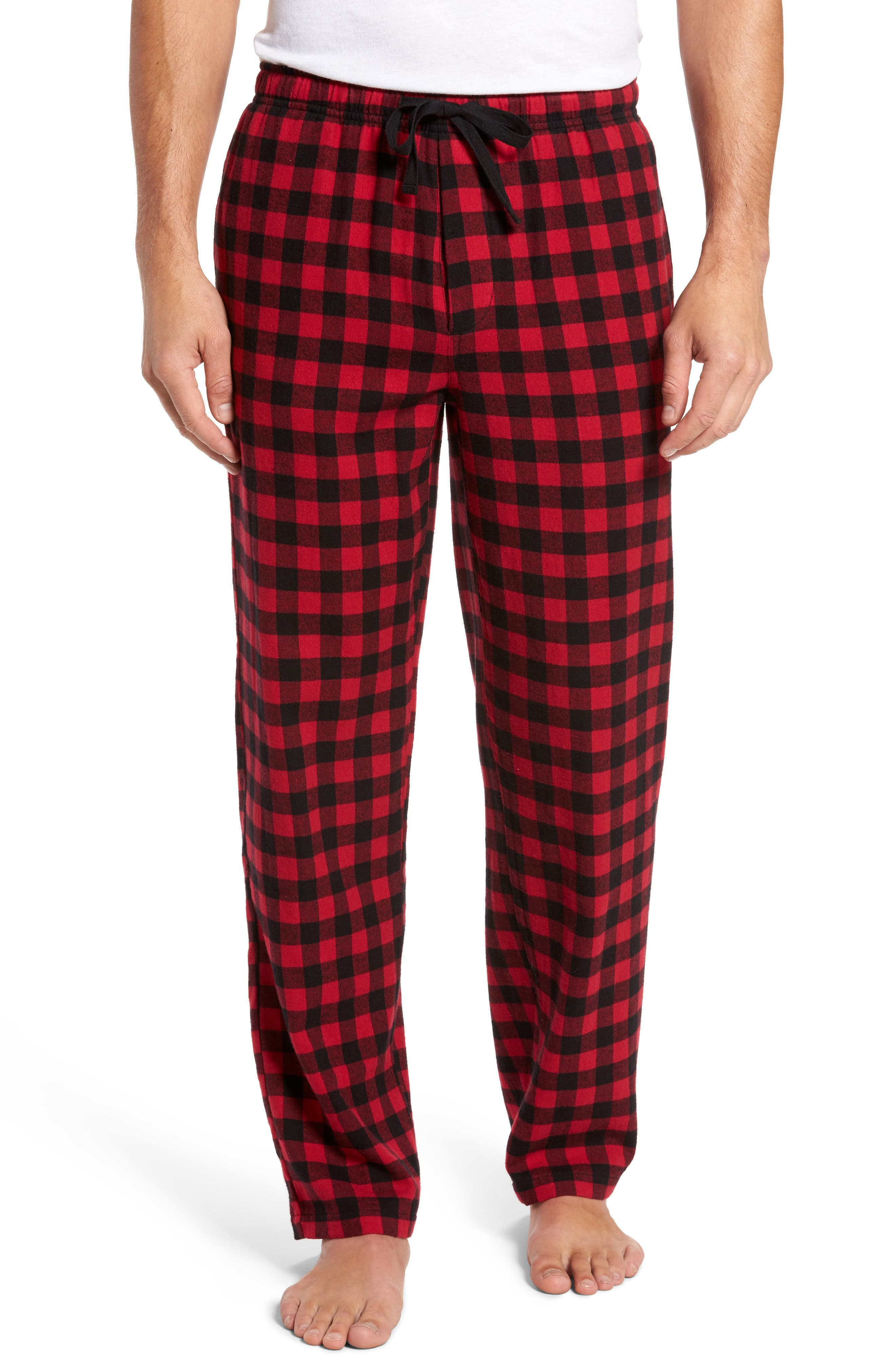 Flannel Pajama Pants,                         Main,                         color, RED CHILI- BLACK BUFFALO