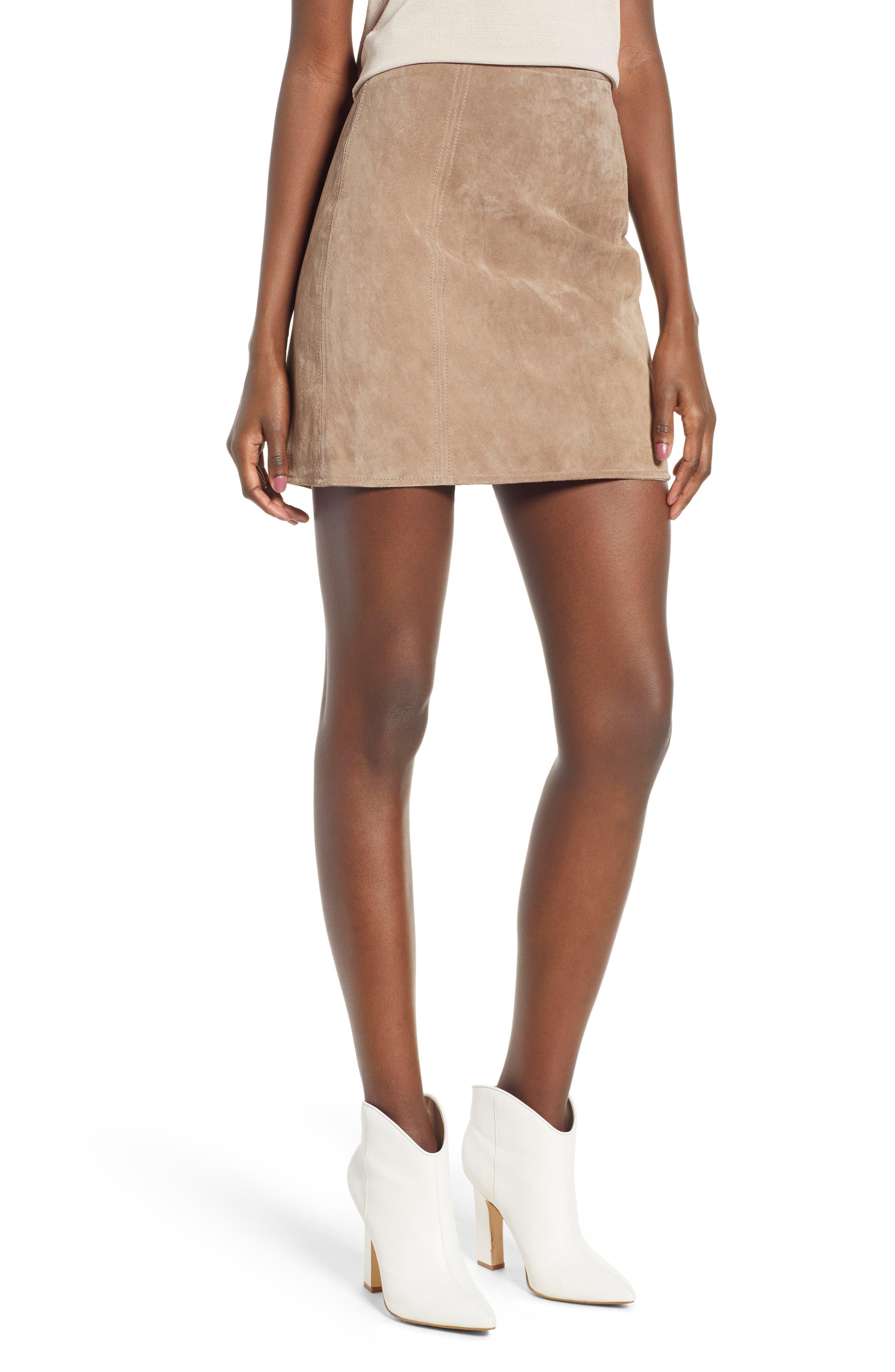 Blanknyc A-Line Suede Skirt, Beige