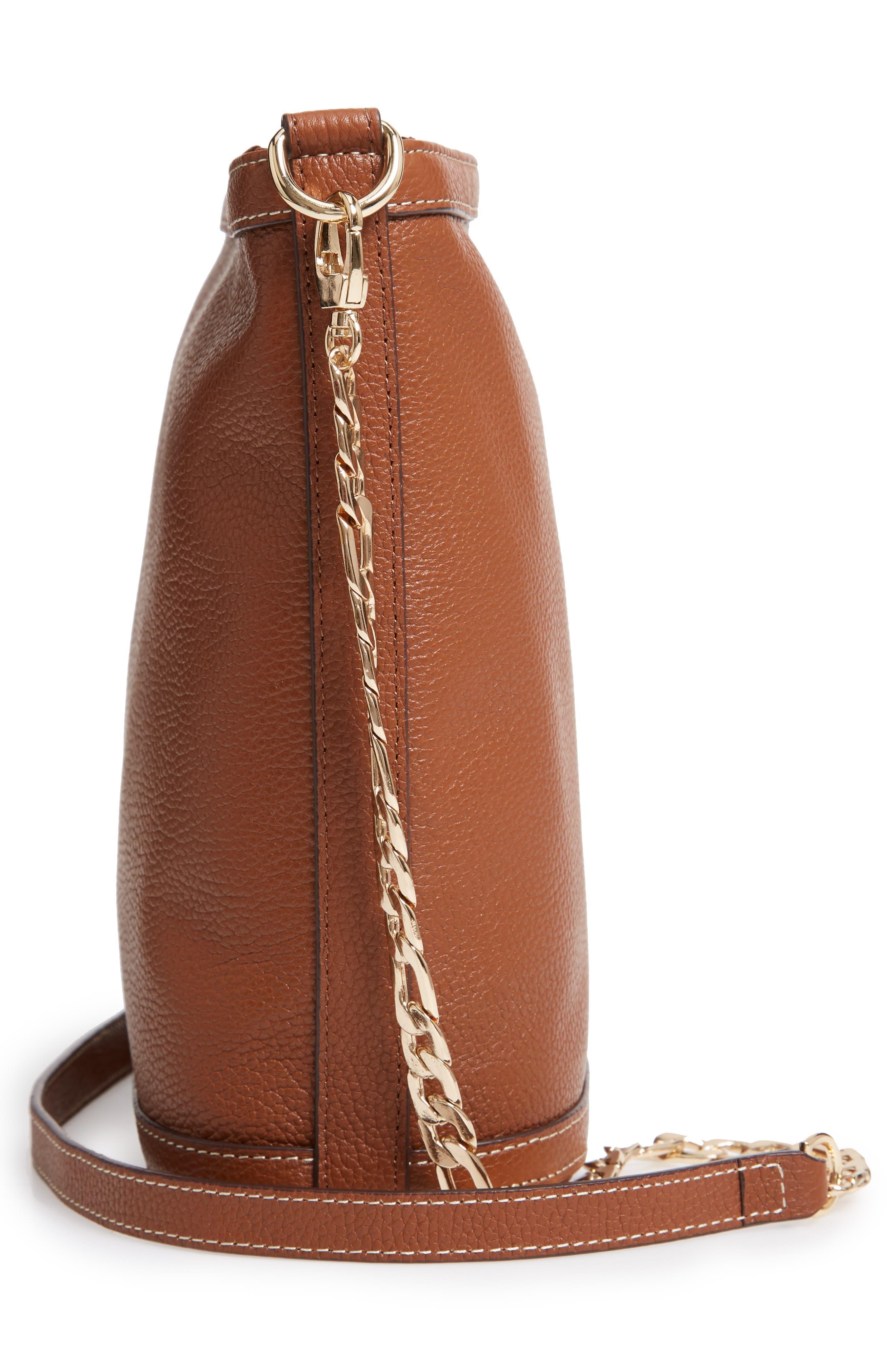 NORDSTROM,                             Maribel Leather Crossbody Bag,                             Alternate thumbnail 5, color,                             BROWN AZTEC