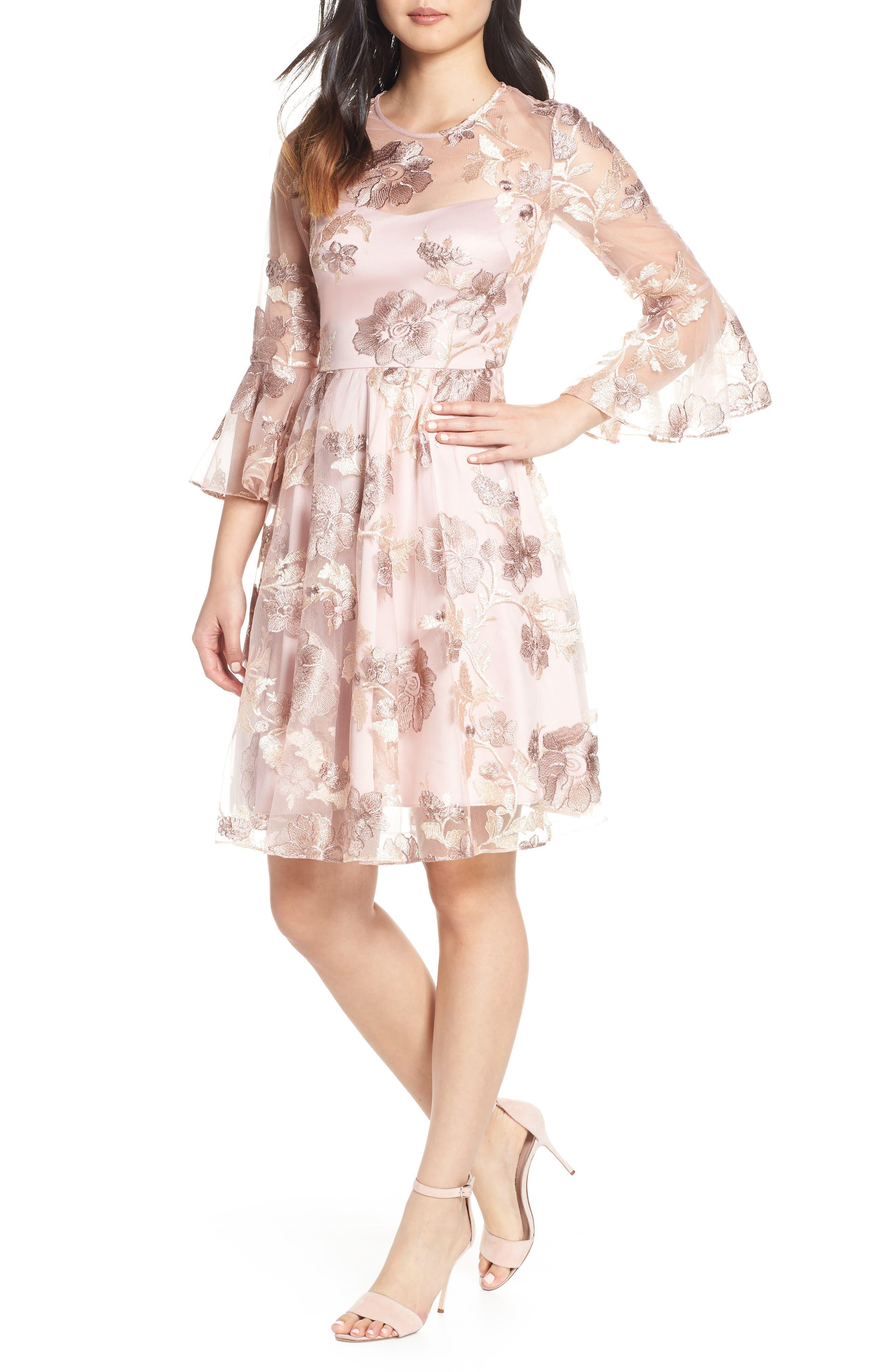 Eliza J Floral Jacquard Fit & Flare Dress, Beige