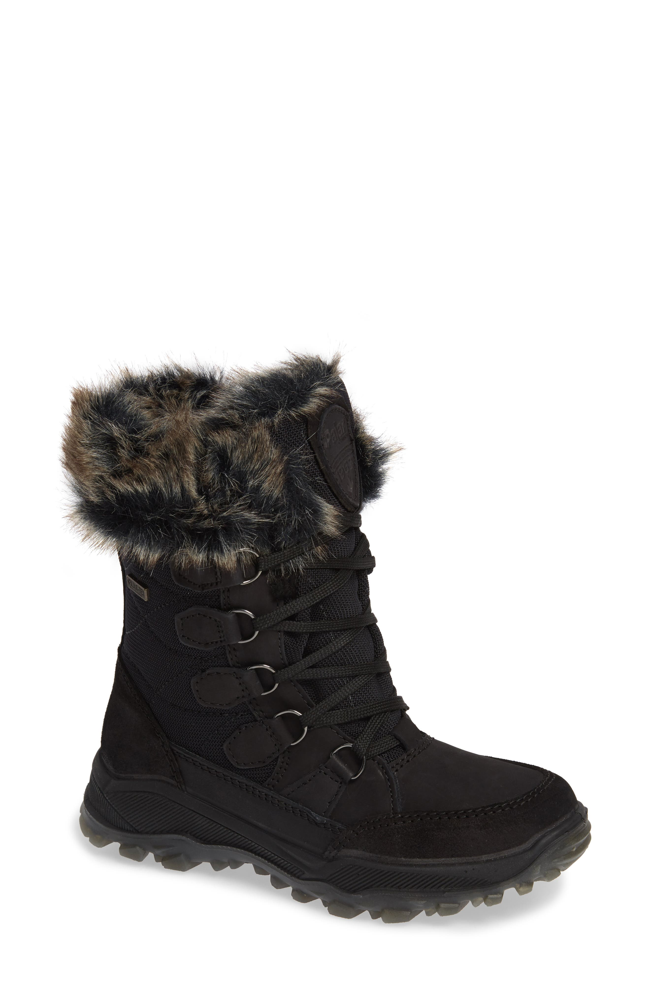 PAJAR Kelsey Waterproof Rain Boot With Faux Fur Lining in Nero/ Nero