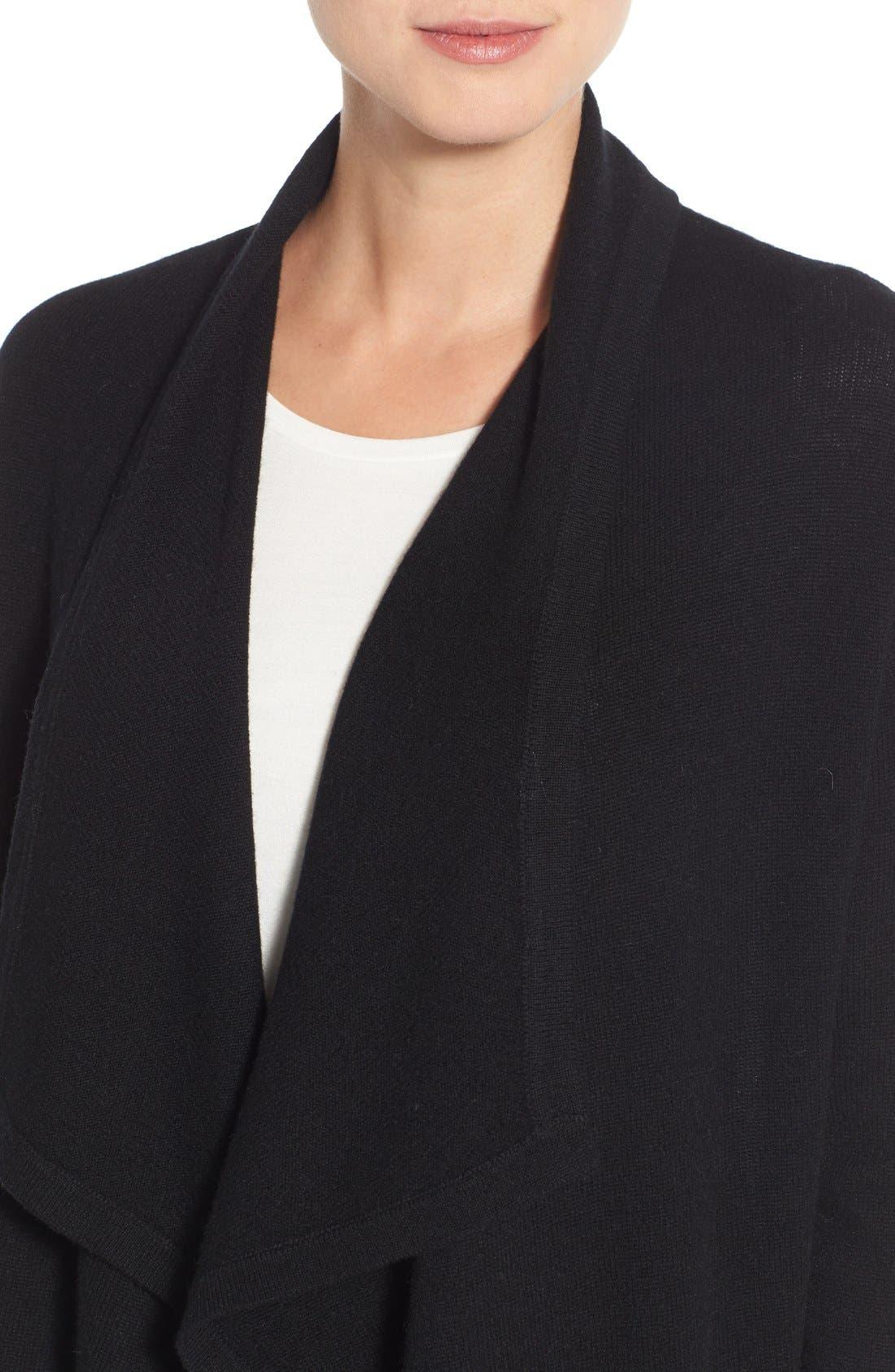 Cashmere Long Drape Front Cardigan,                             Alternate thumbnail 2, color,                             001