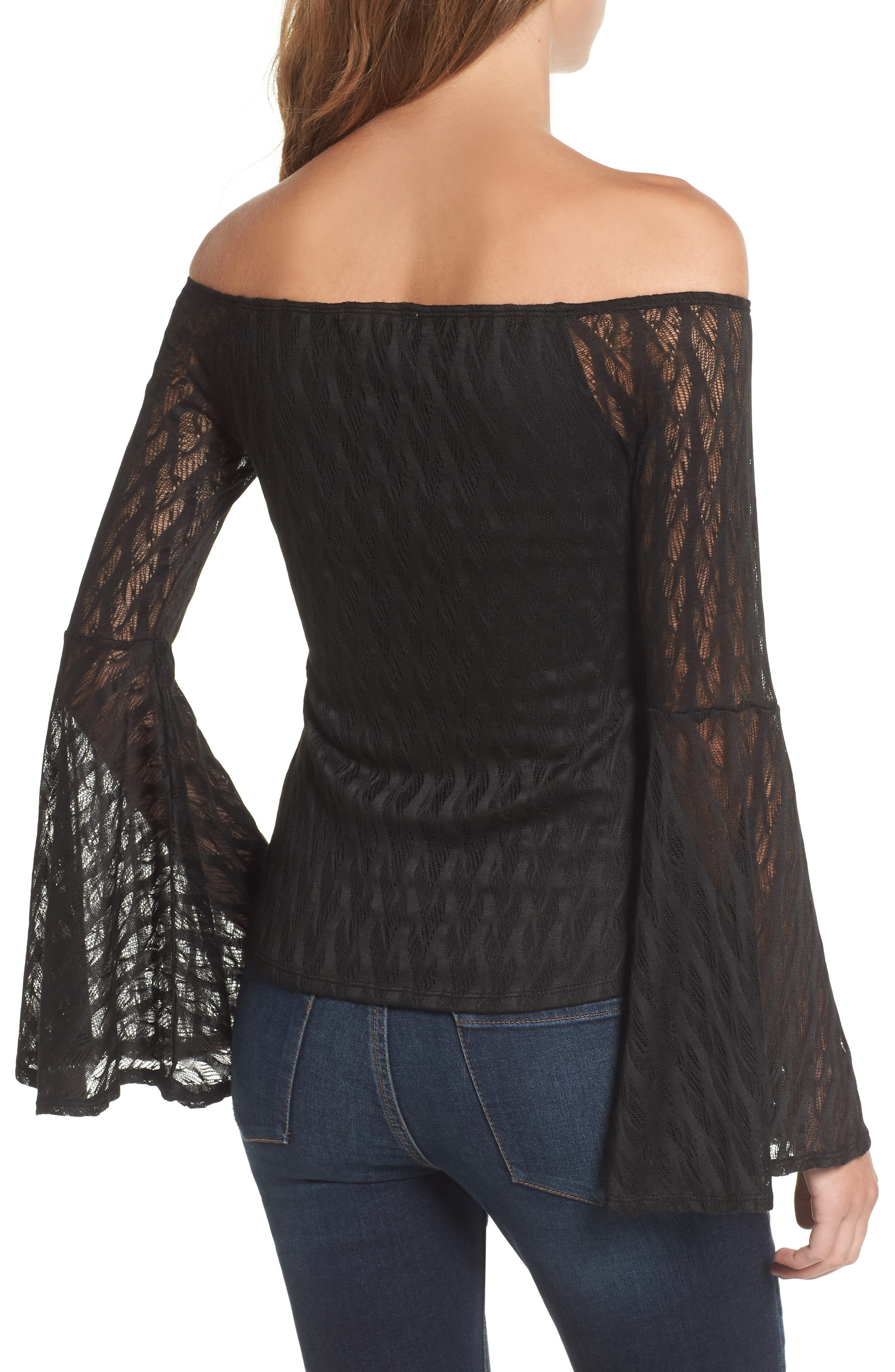 Bell Sleeve Off the Shoulder Top,                             Alternate thumbnail 2, color,                             001