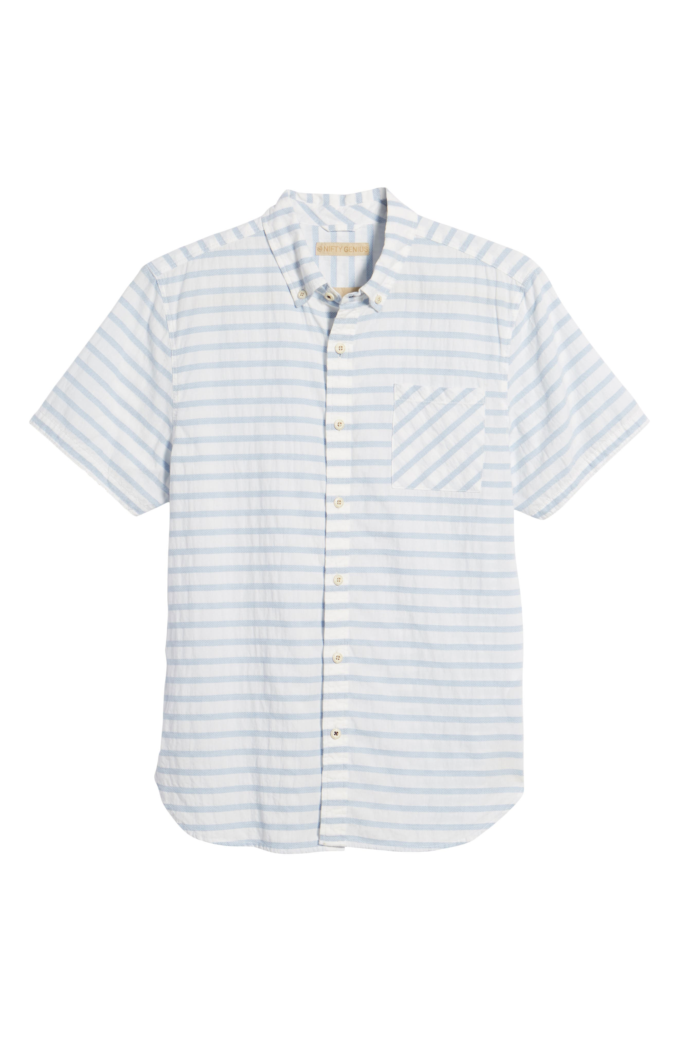 Truman Slim Fit Stripe Sport Shirt,                             Alternate thumbnail 6, color,                             WHITE/ BLUE