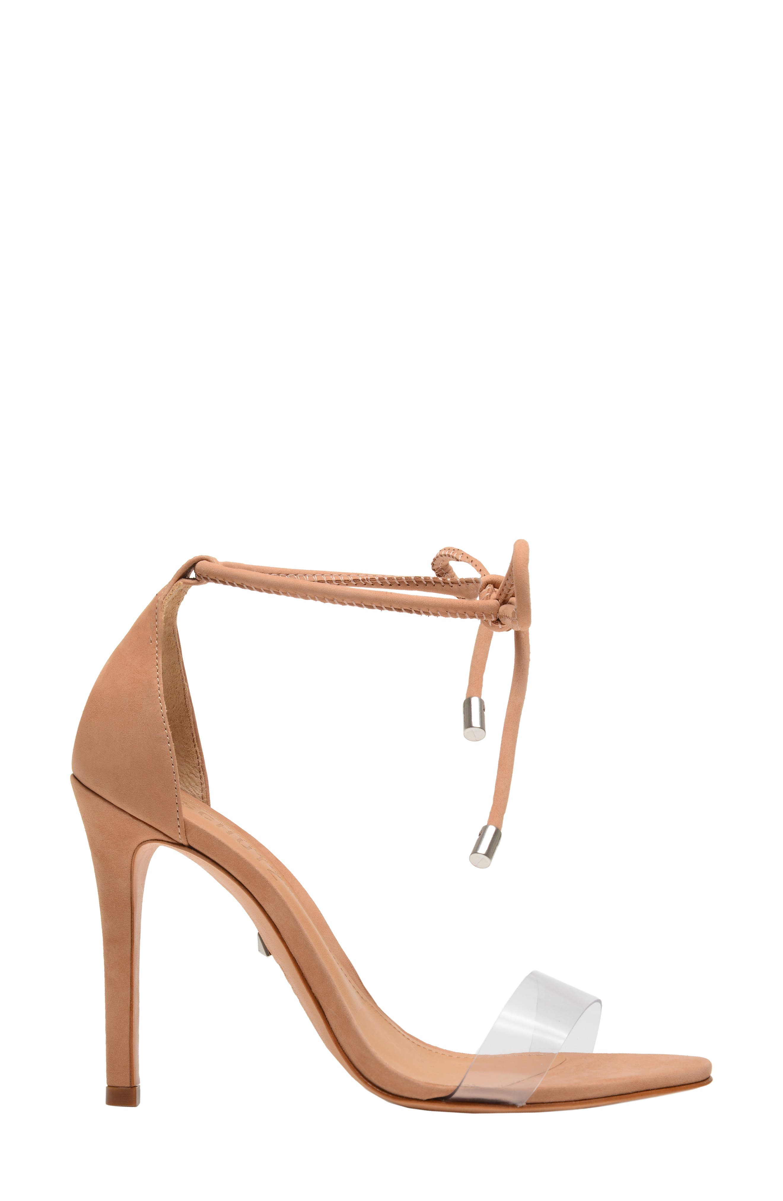 Shutz Monique Ankle Tie Sandal,                             Alternate thumbnail 3, color,                             TRANSPARENT/ HONEY BEIGE