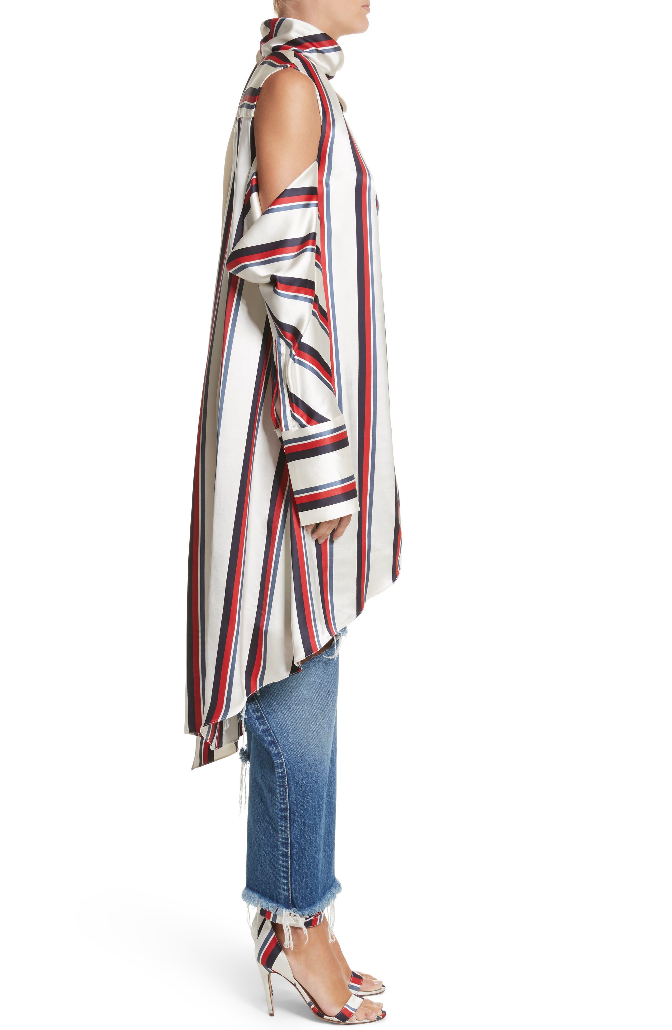 Stripe Off the Shoulder Blouse,                             Alternate thumbnail 3, color,