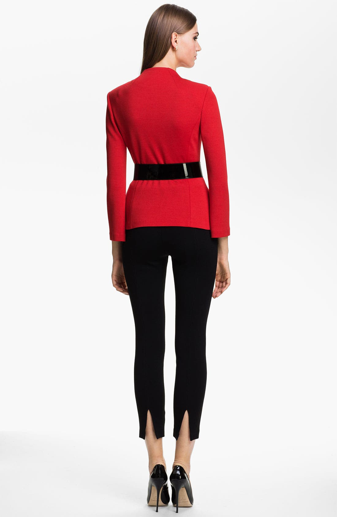 'Alexa' Stretch Milano Knit Ankle Pants,                             Alternate thumbnail 3, color,                             CAVIAR