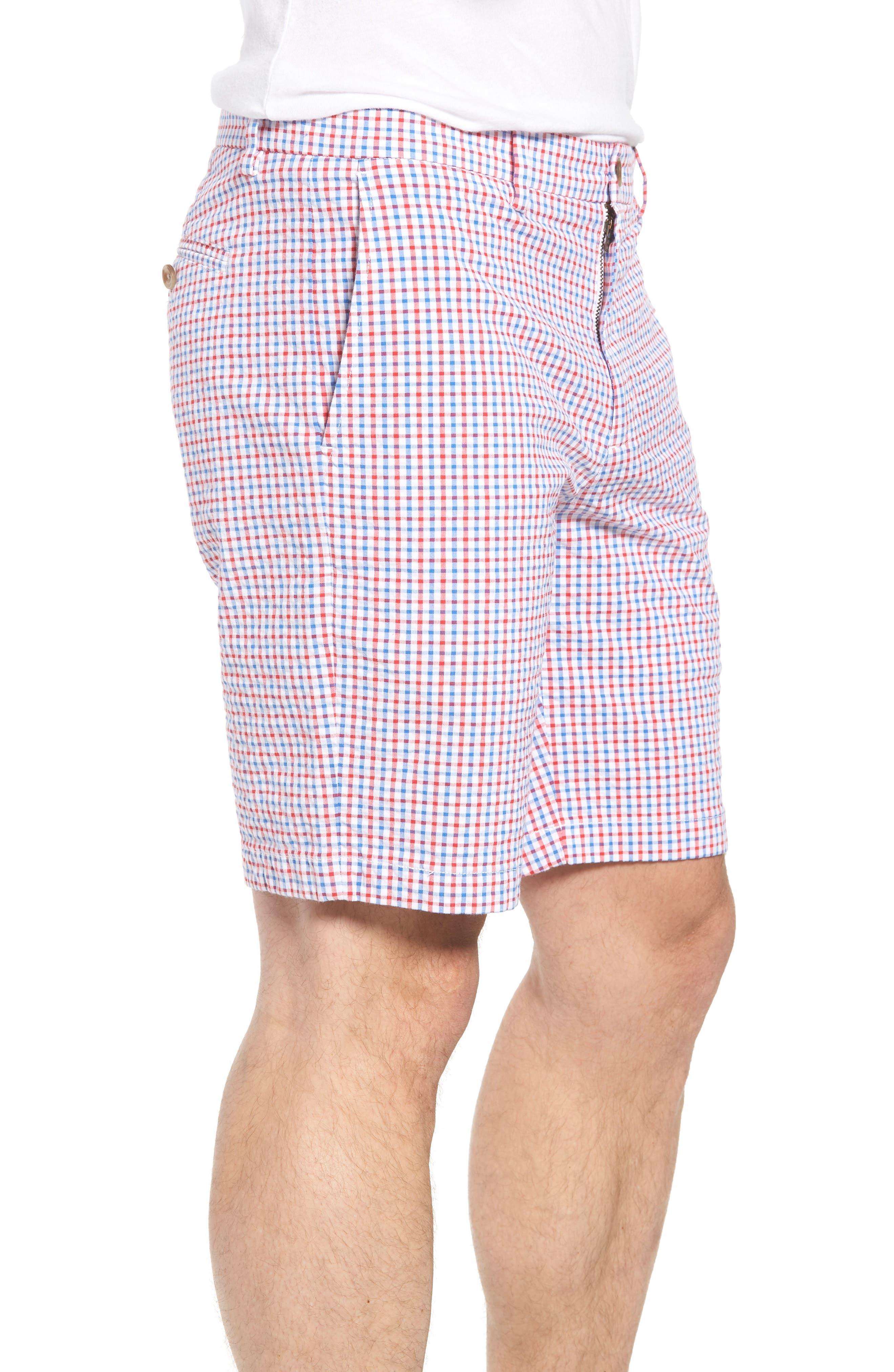 Gingham Seersucker Stretch Breaker Shorts,                             Alternate thumbnail 3, color,                             SPINNAKER