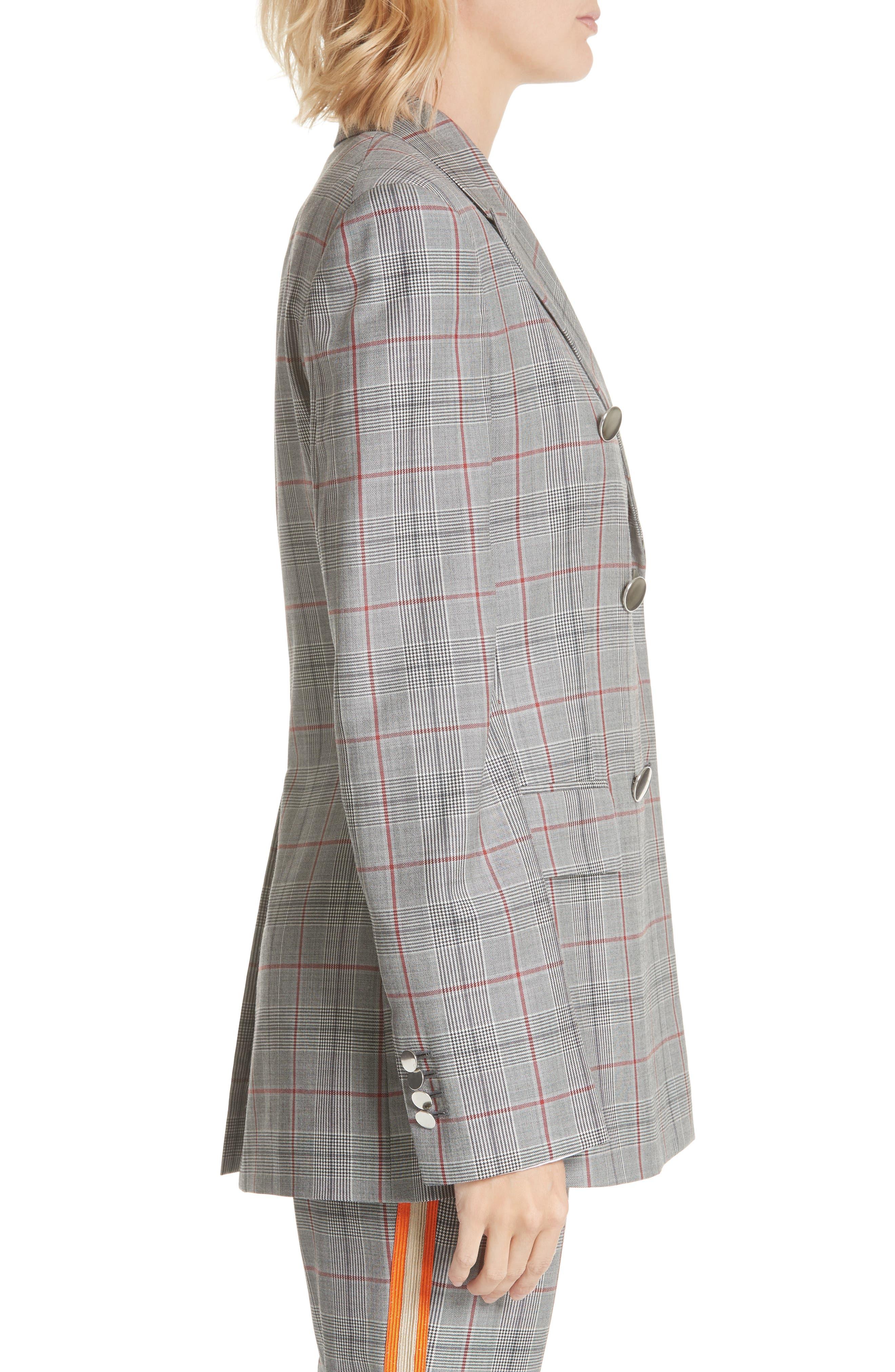 Plaid Wool Jacket,                             Alternate thumbnail 3, color,                             BLACK WHITE GRENADINE