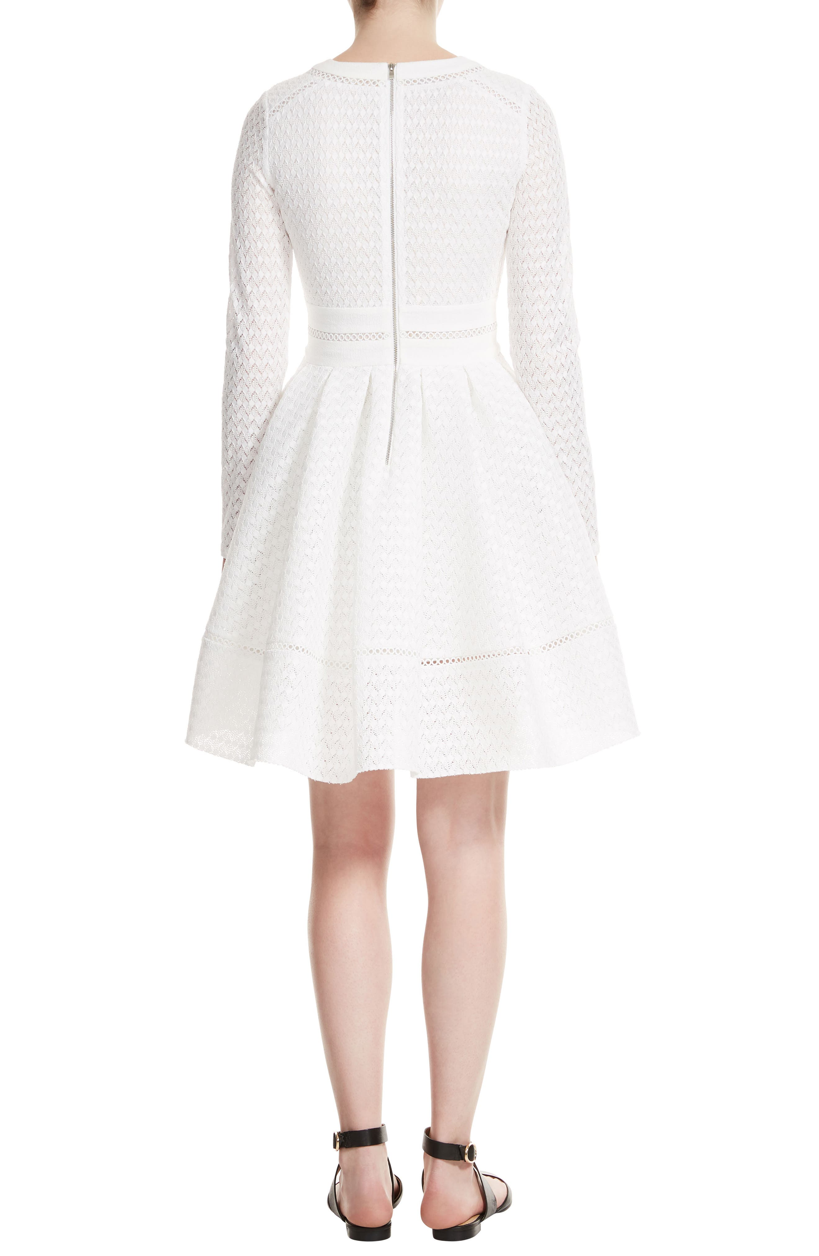 Pointelle Fit & Flare Dress,                             Alternate thumbnail 2, color,                             100
