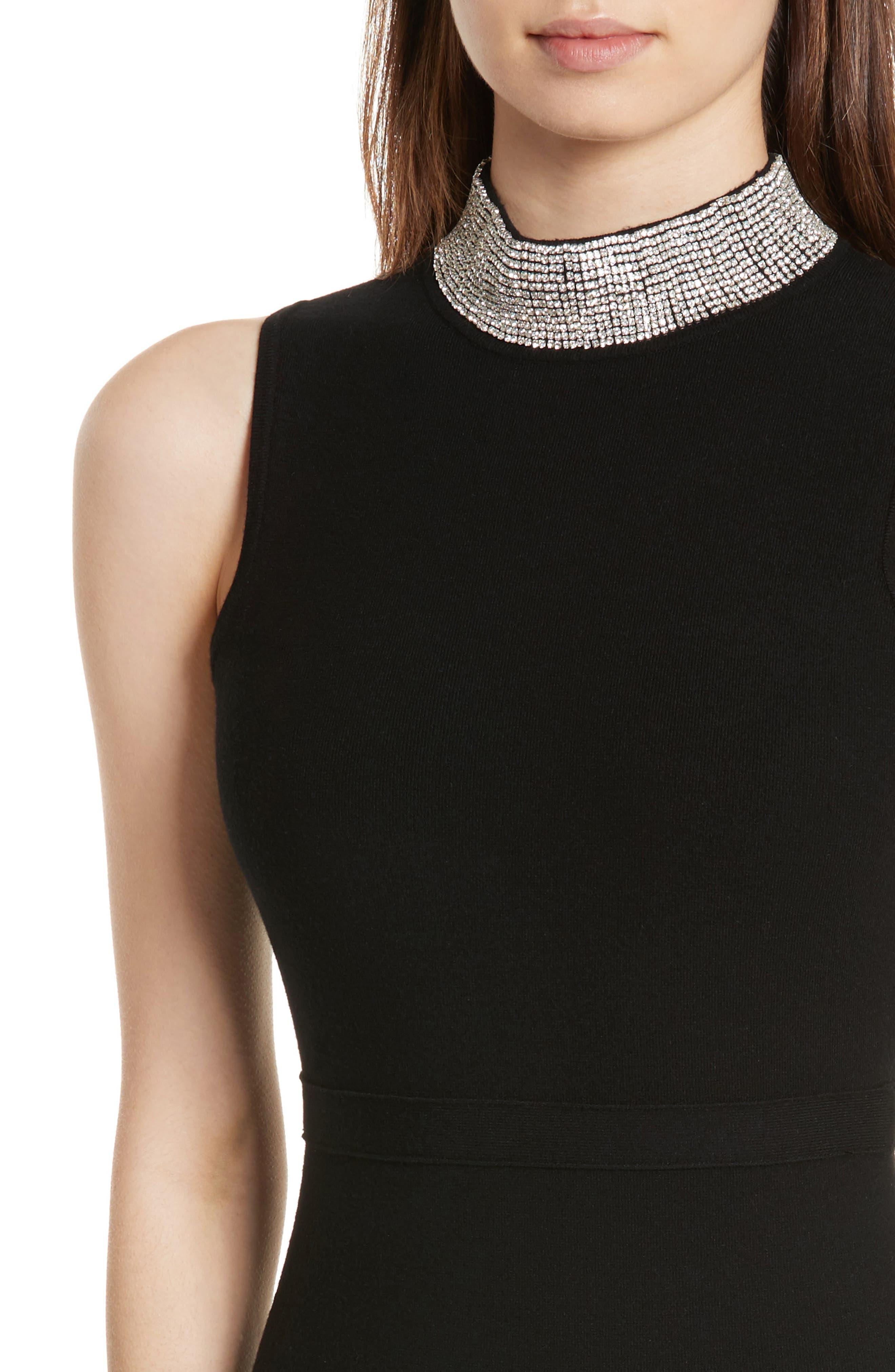 Jewel Collar Sheath Dress,                             Alternate thumbnail 4, color,