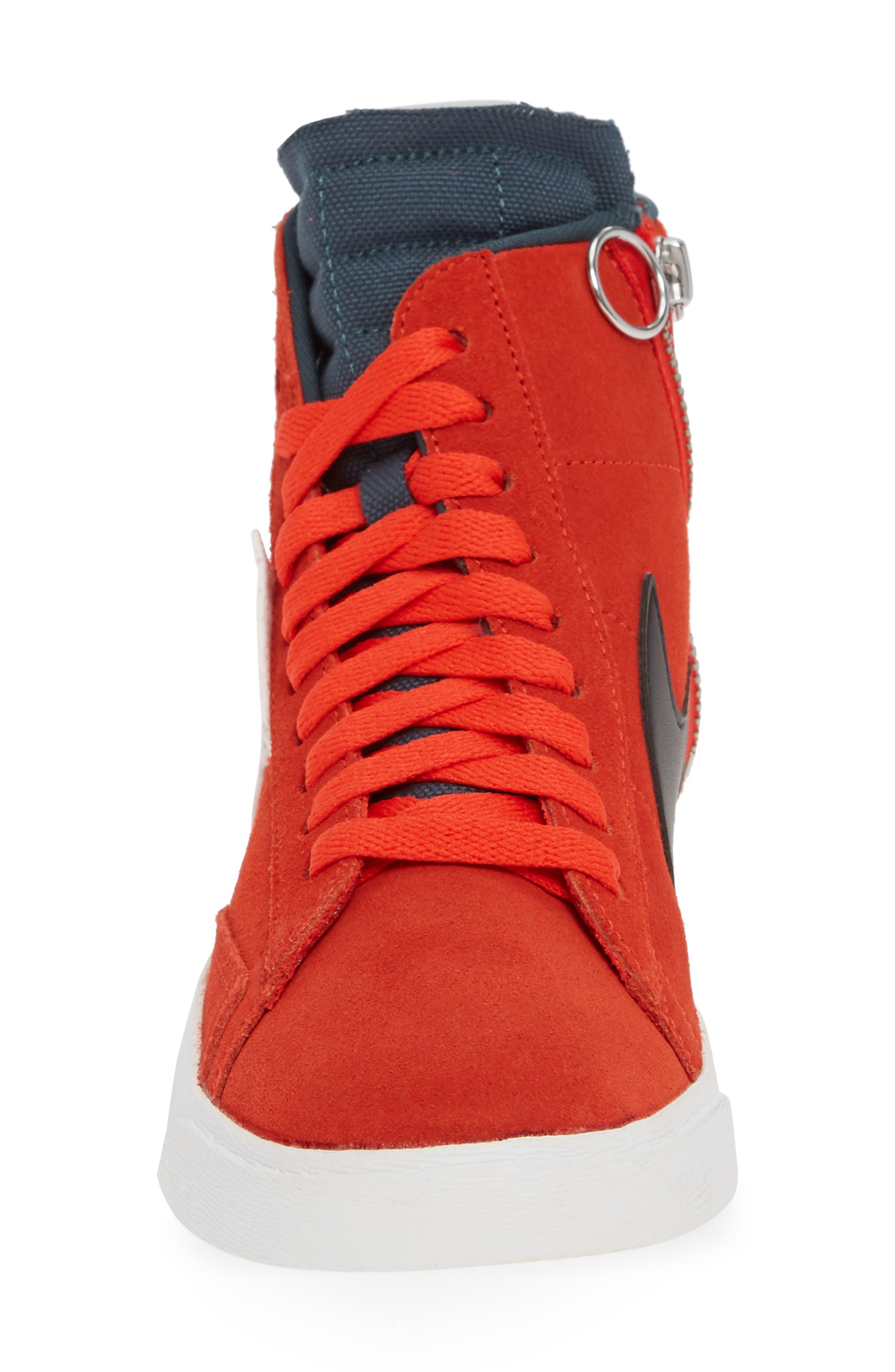 Blazer Mid Rebel Sneaker,                             Alternate thumbnail 4, color,                             HABANERO/ WHITE/ BLACK/ SPRUCE