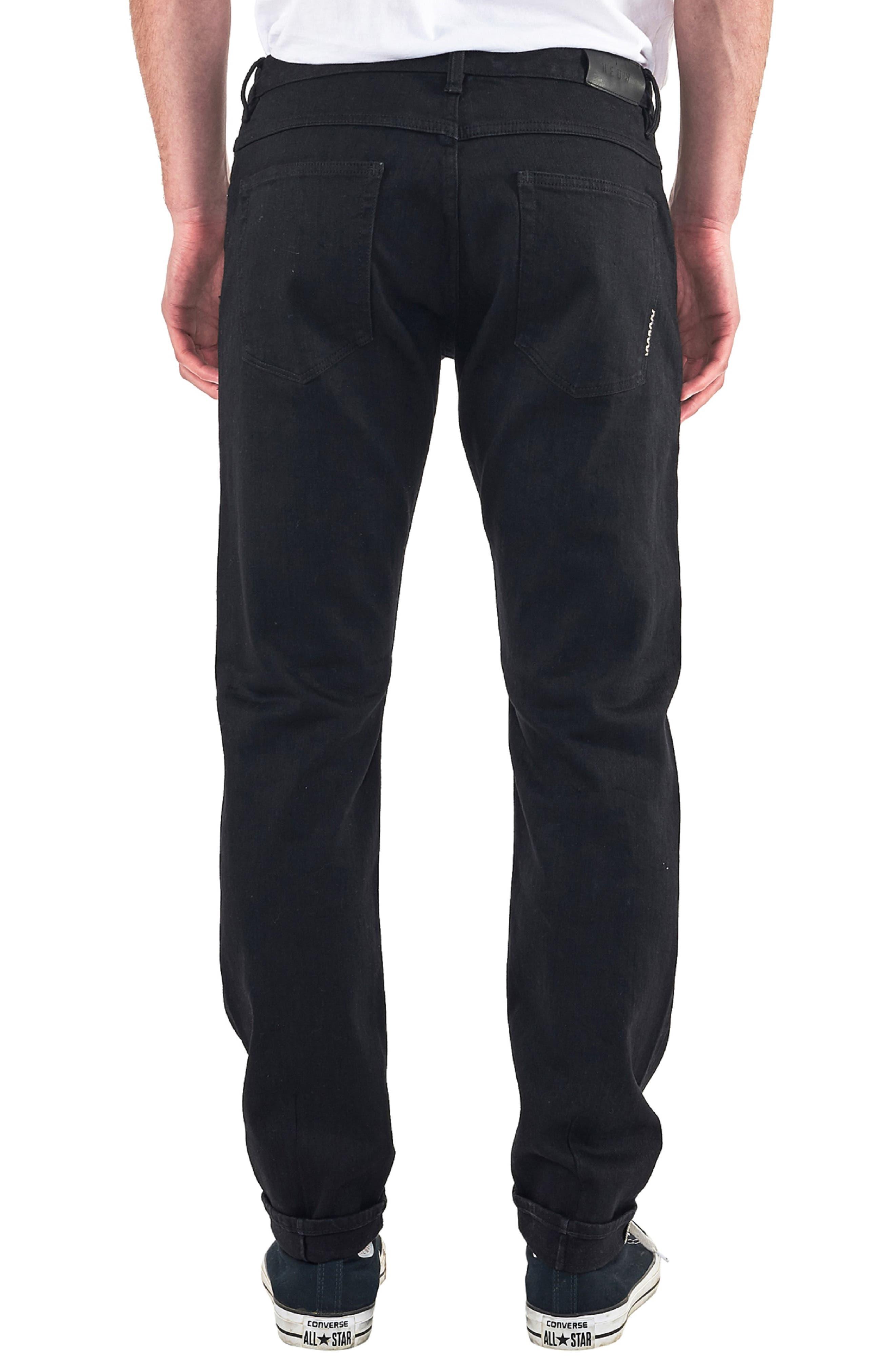 Lou Slim Fit Jeans,                             Alternate thumbnail 2, color,                             BLACK SELVEDGE