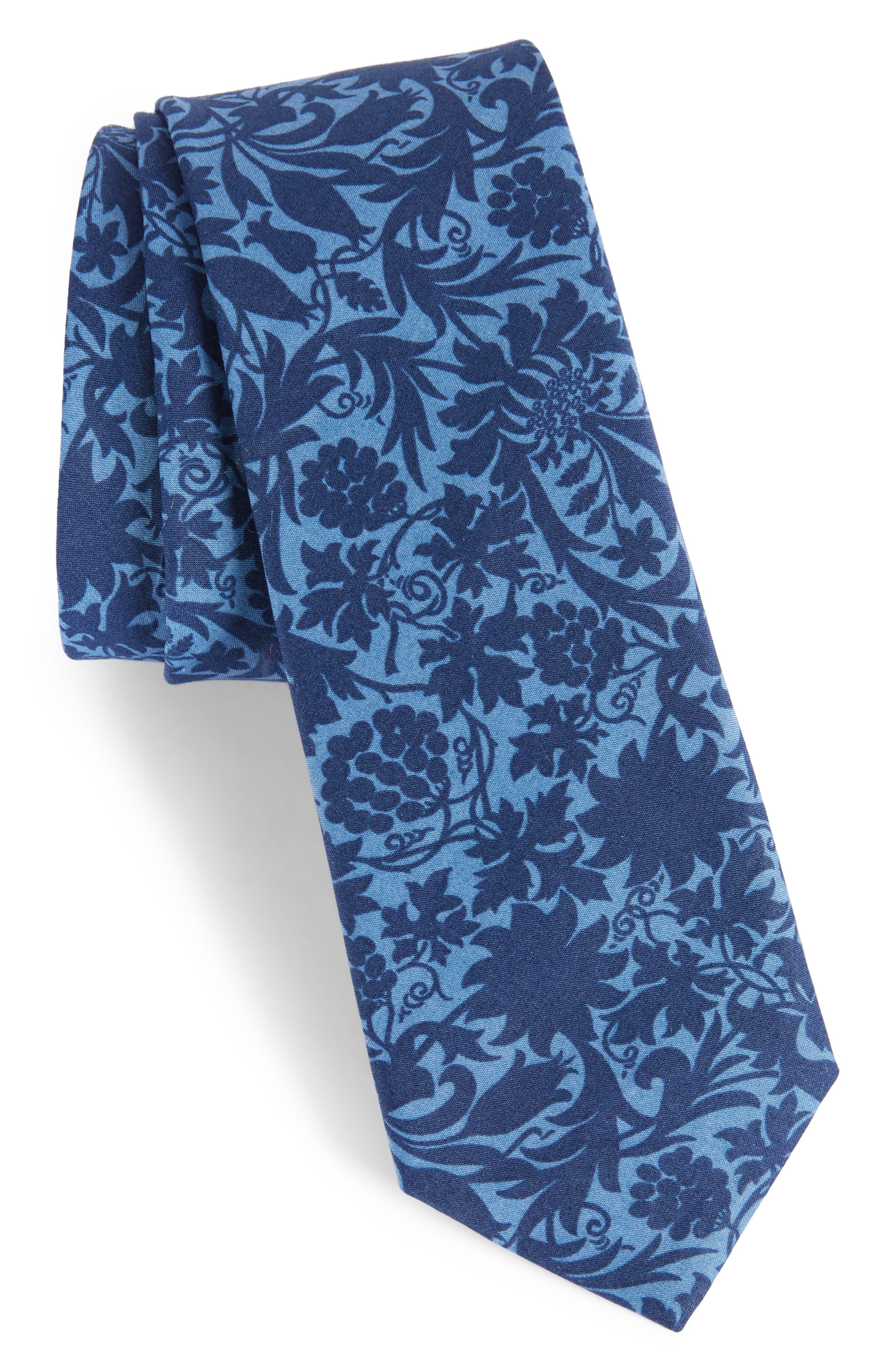 Floral Cotton Skinny Tie,                             Main thumbnail 1, color,                             425